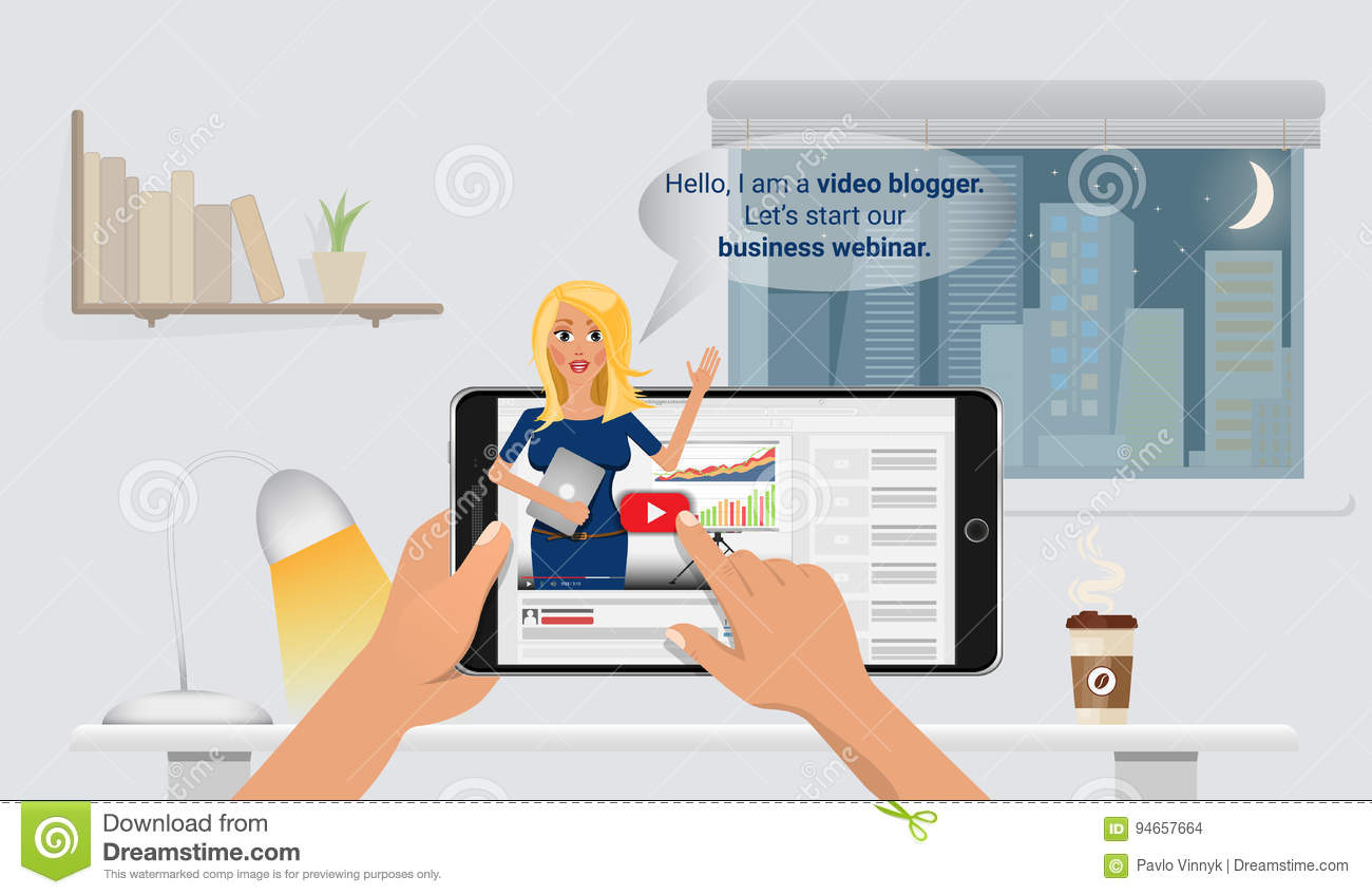Woman Video Blogger In Smart Phone  Concept Blogging