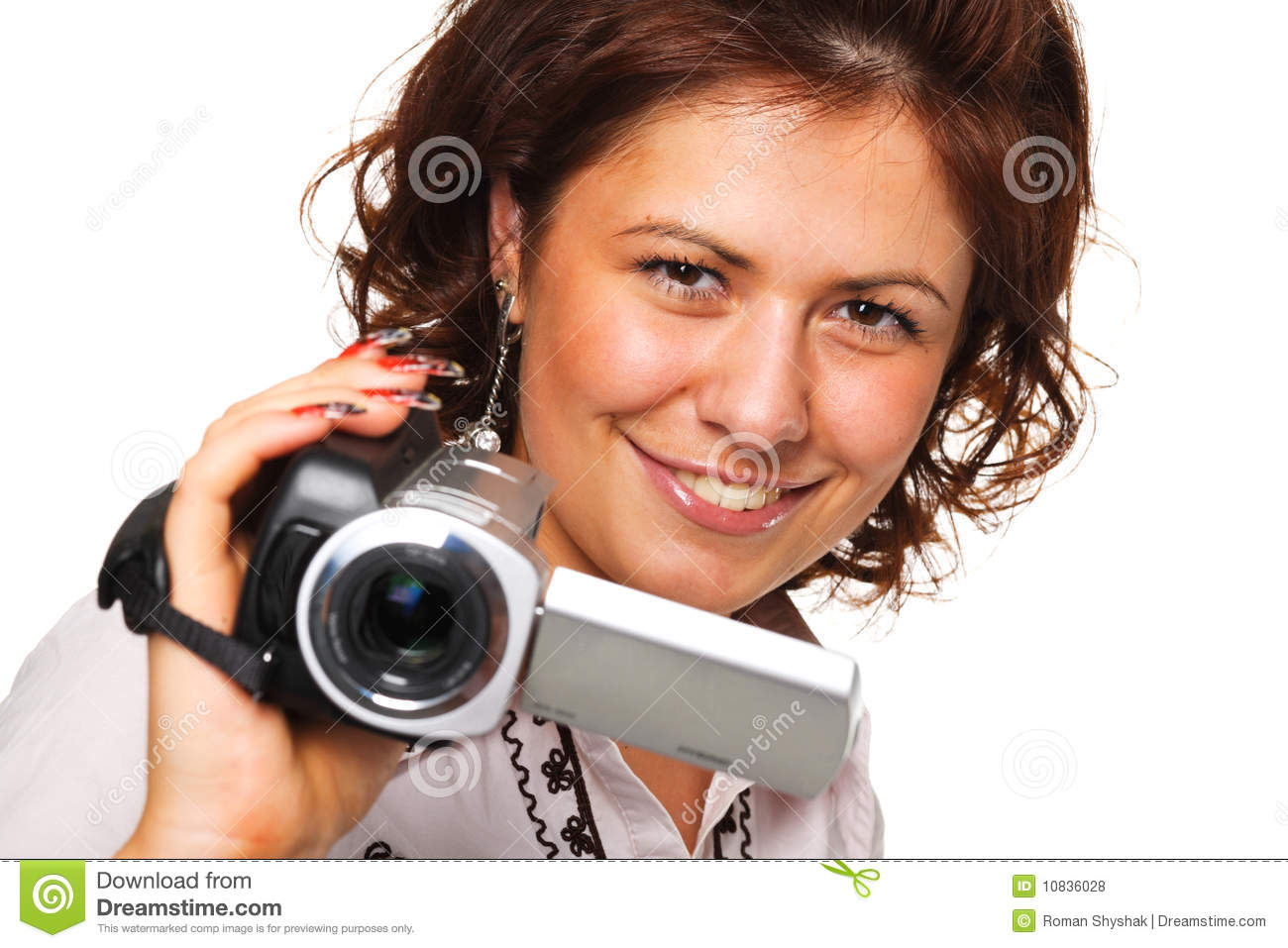Woman with a video camera stock photo. Image of video ...