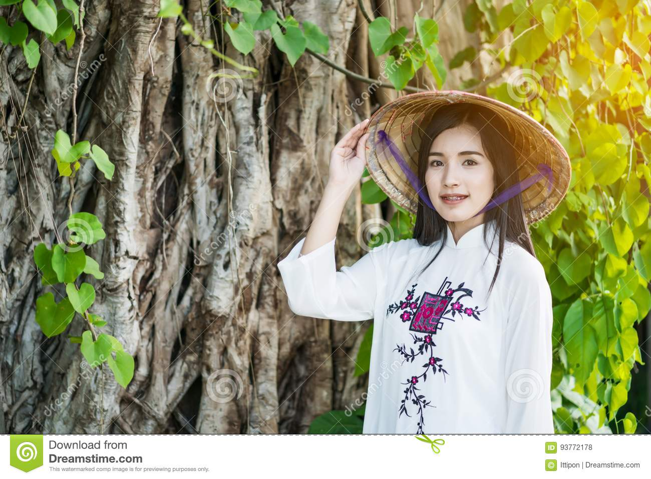 Woman with Vietnam culture traditional dress