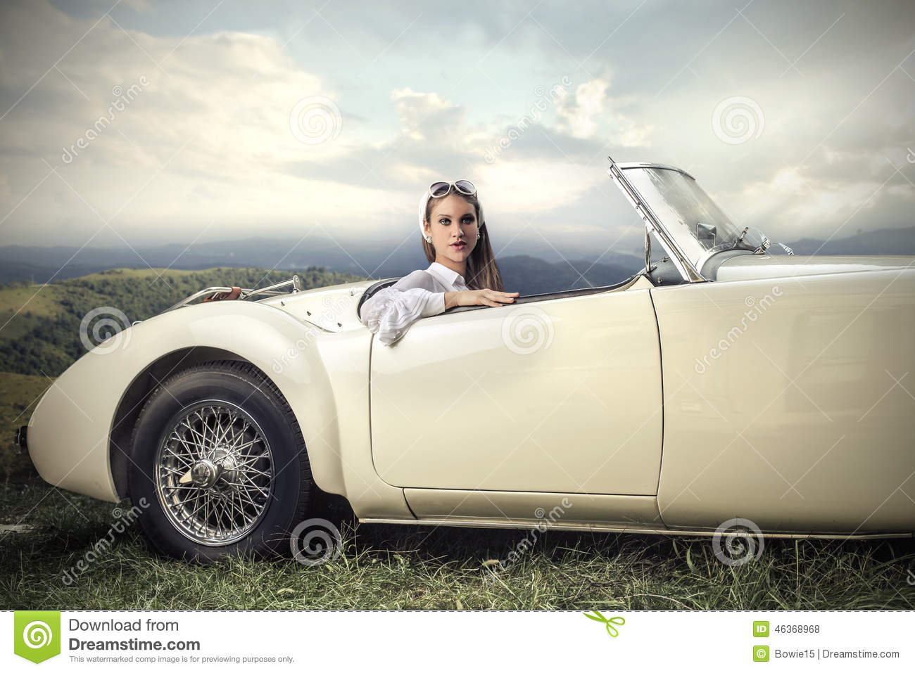 Woman in a vintage car stock photo. Image of young, light - 46368968