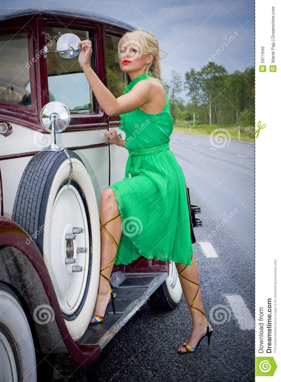 Woman And Vintage Car Stock Photo Image Of Glamorous