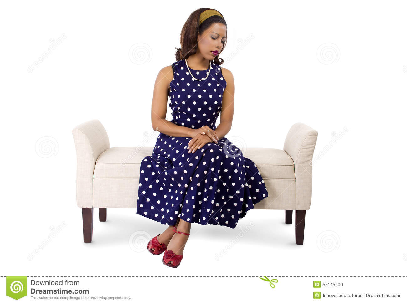 Woman In Vintage Dress And Furniture Looking Sad Stock