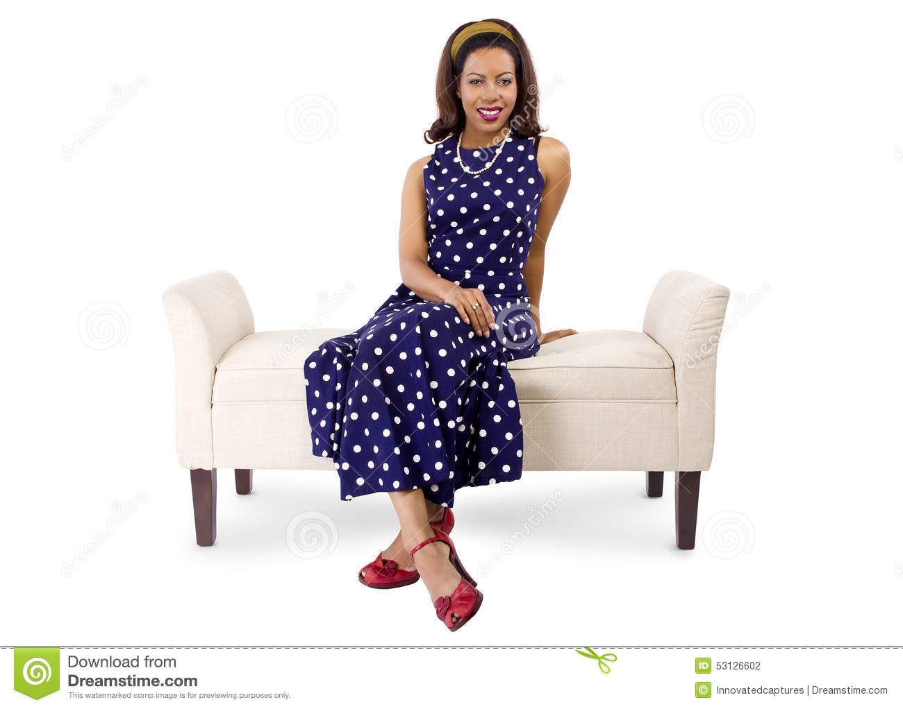 Woman In Vintage Dress And Furniture Stock Photo Image