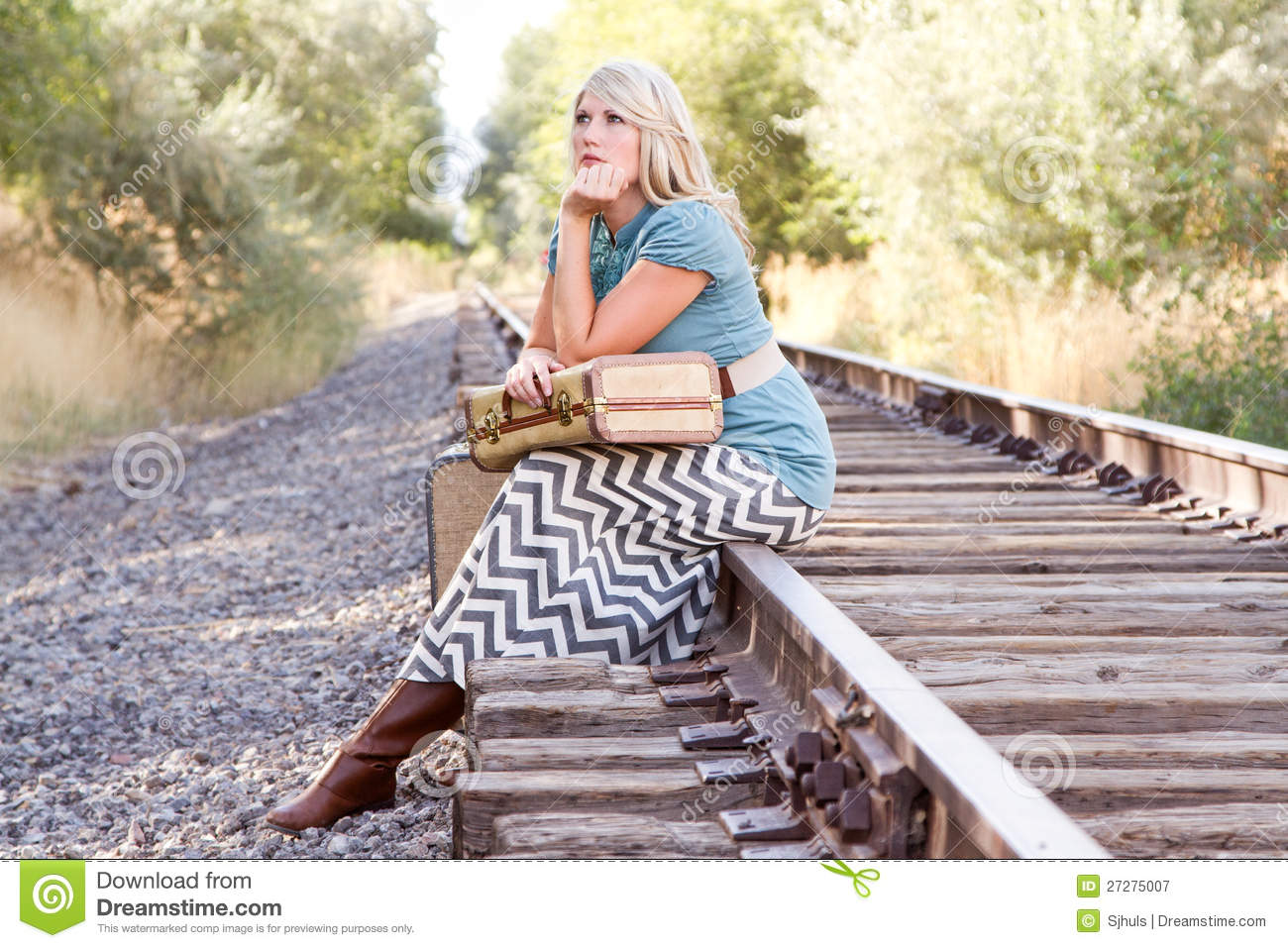 ... Free Stock Photography: Woman with vintage luggage on railroad tracks