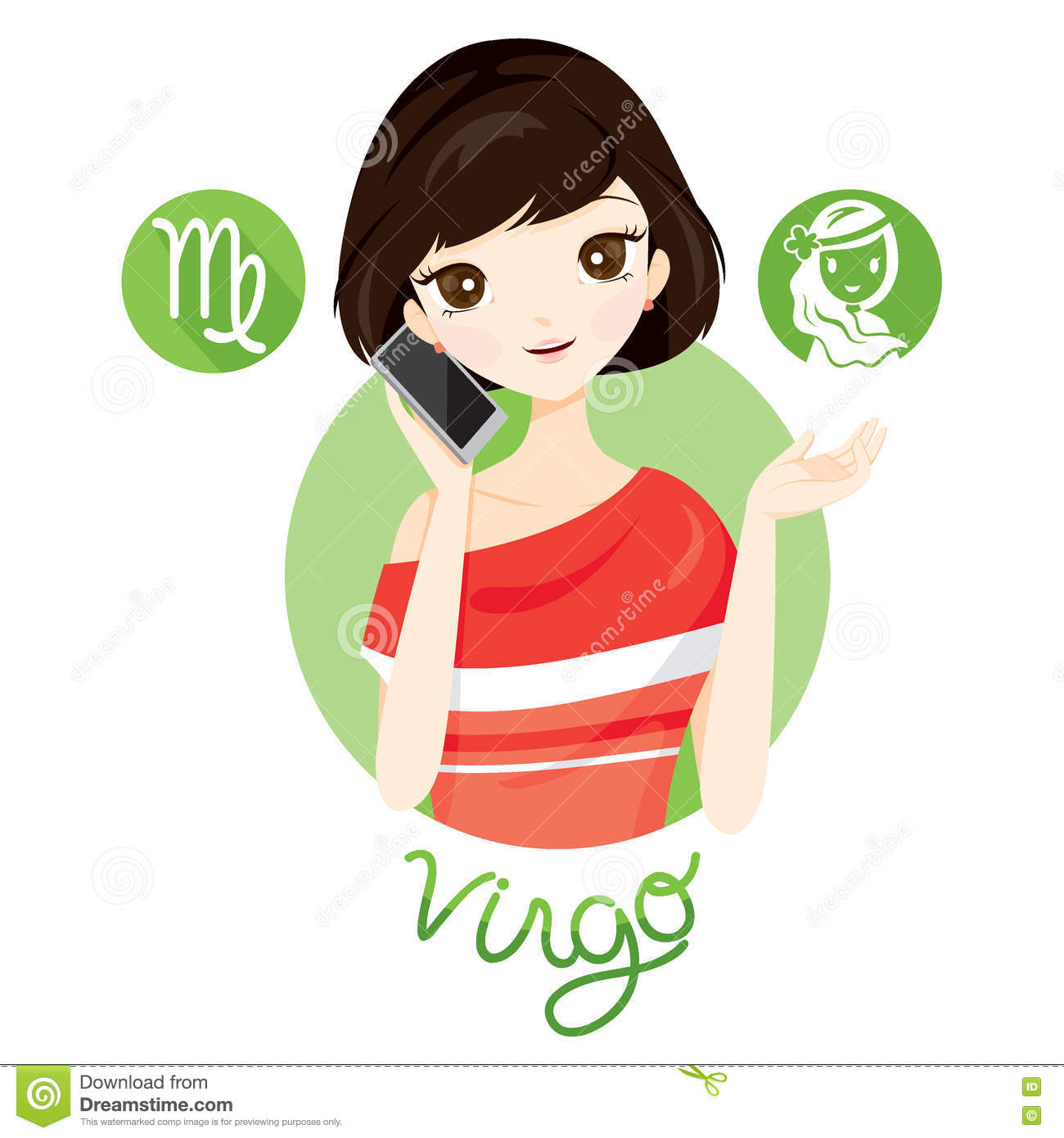 Beauty Journey Zodiak: Woman With Virgo Zodiac Sign Stock Vector