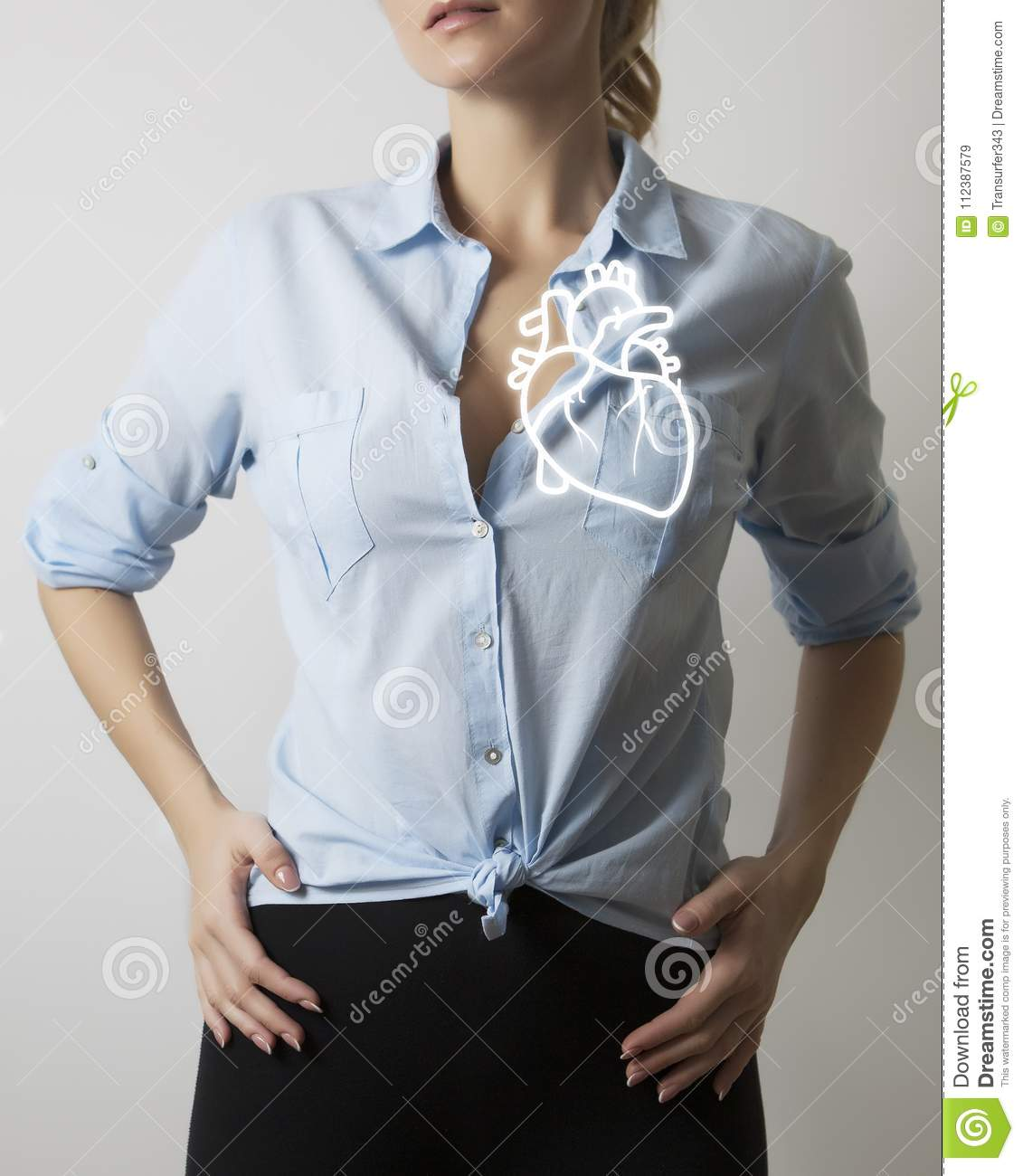 Woman With Visualisation Of Anatomy Heart Stock Image - Image of ...