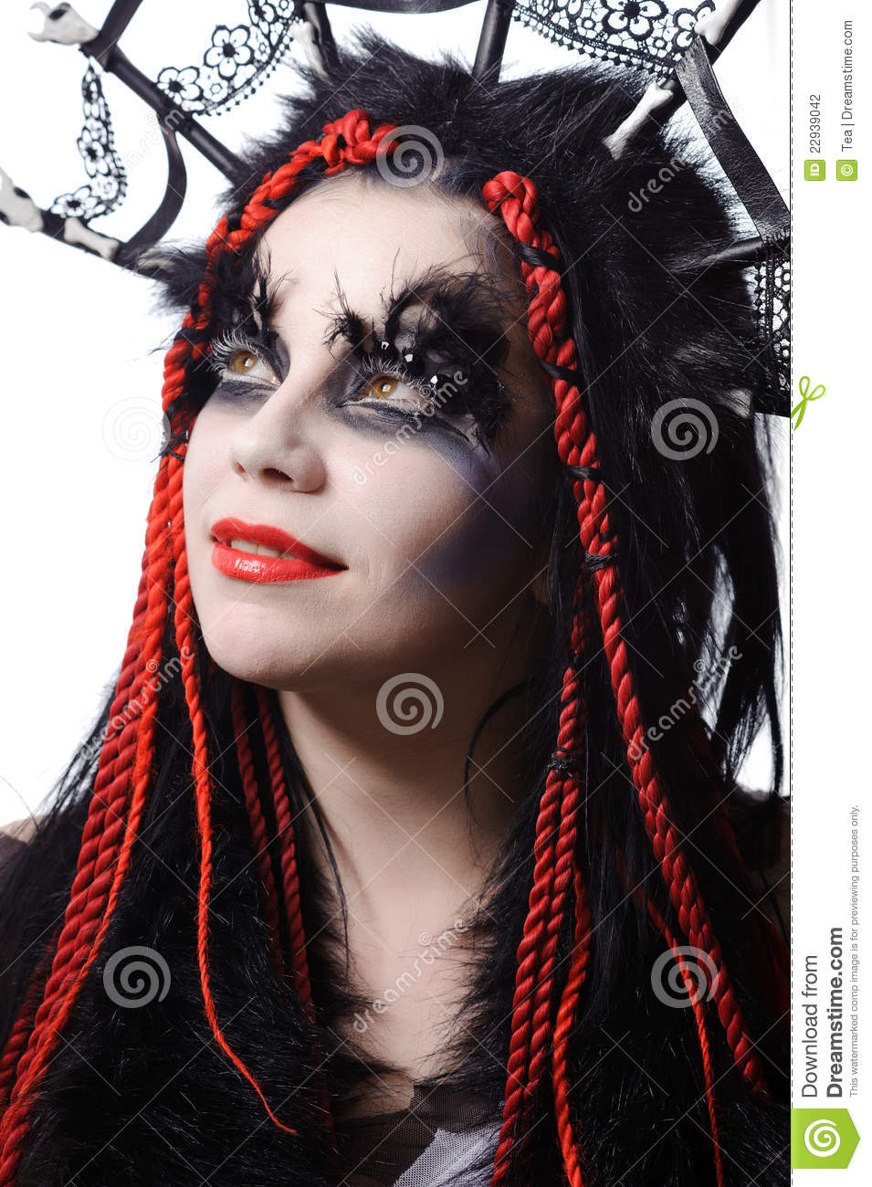 Woman With Voodoo Shaman Make Up Stock Photography Image