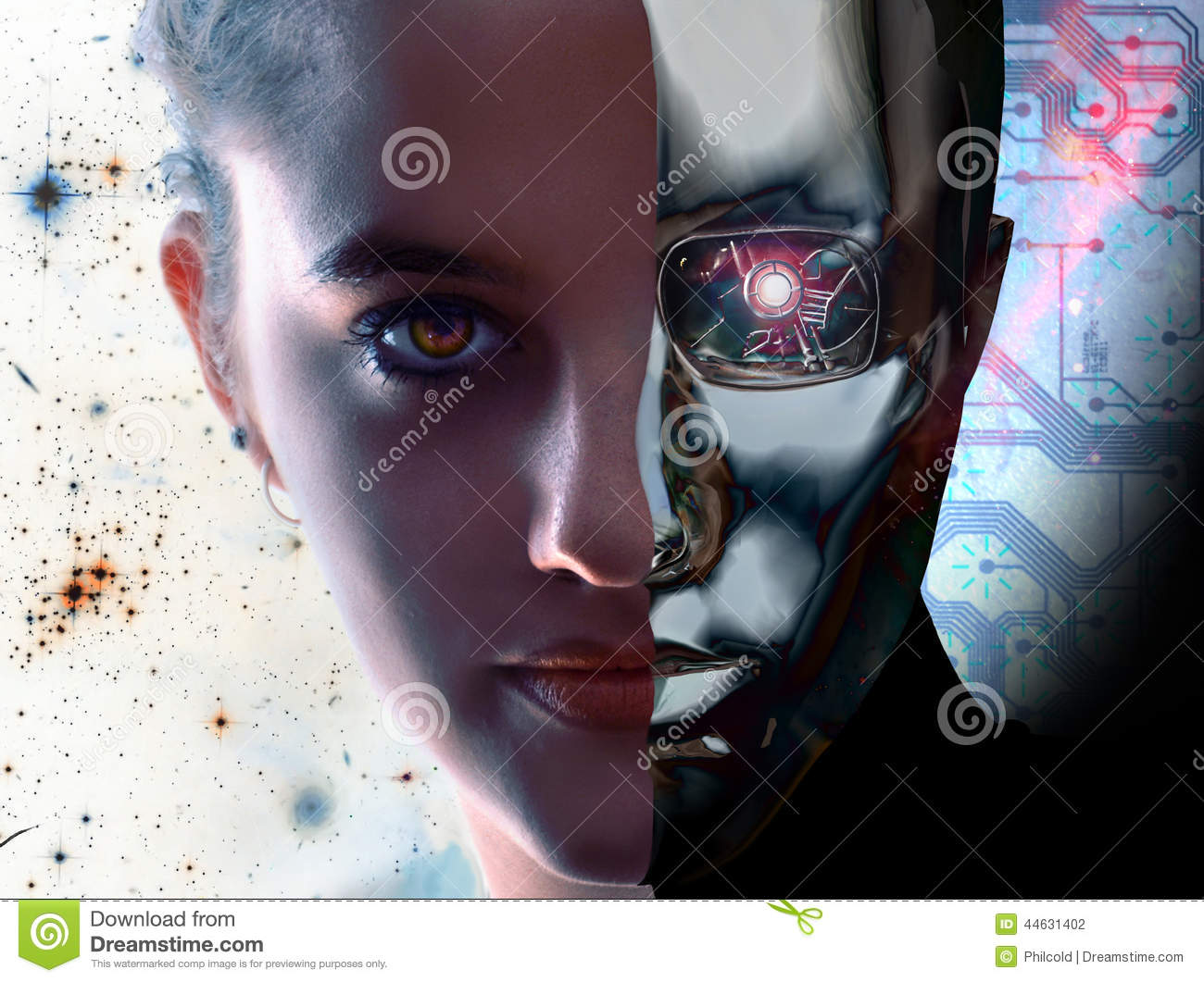 Woman Vs Robot Stock Illustration - Image: 44631402