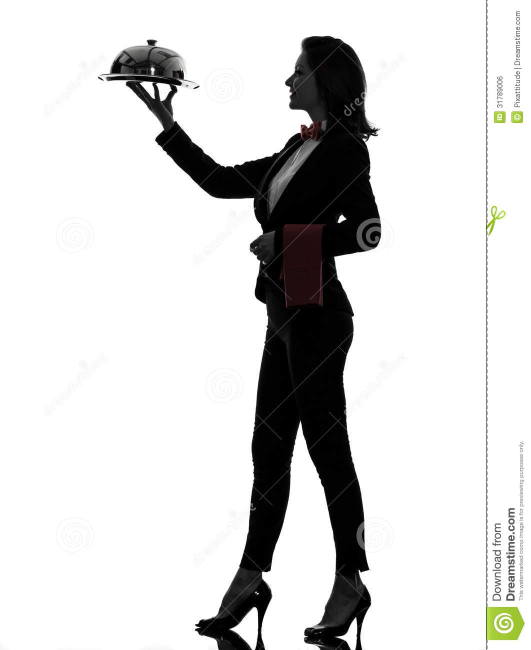 woman waiter butler serving dinner silhouette royalty free