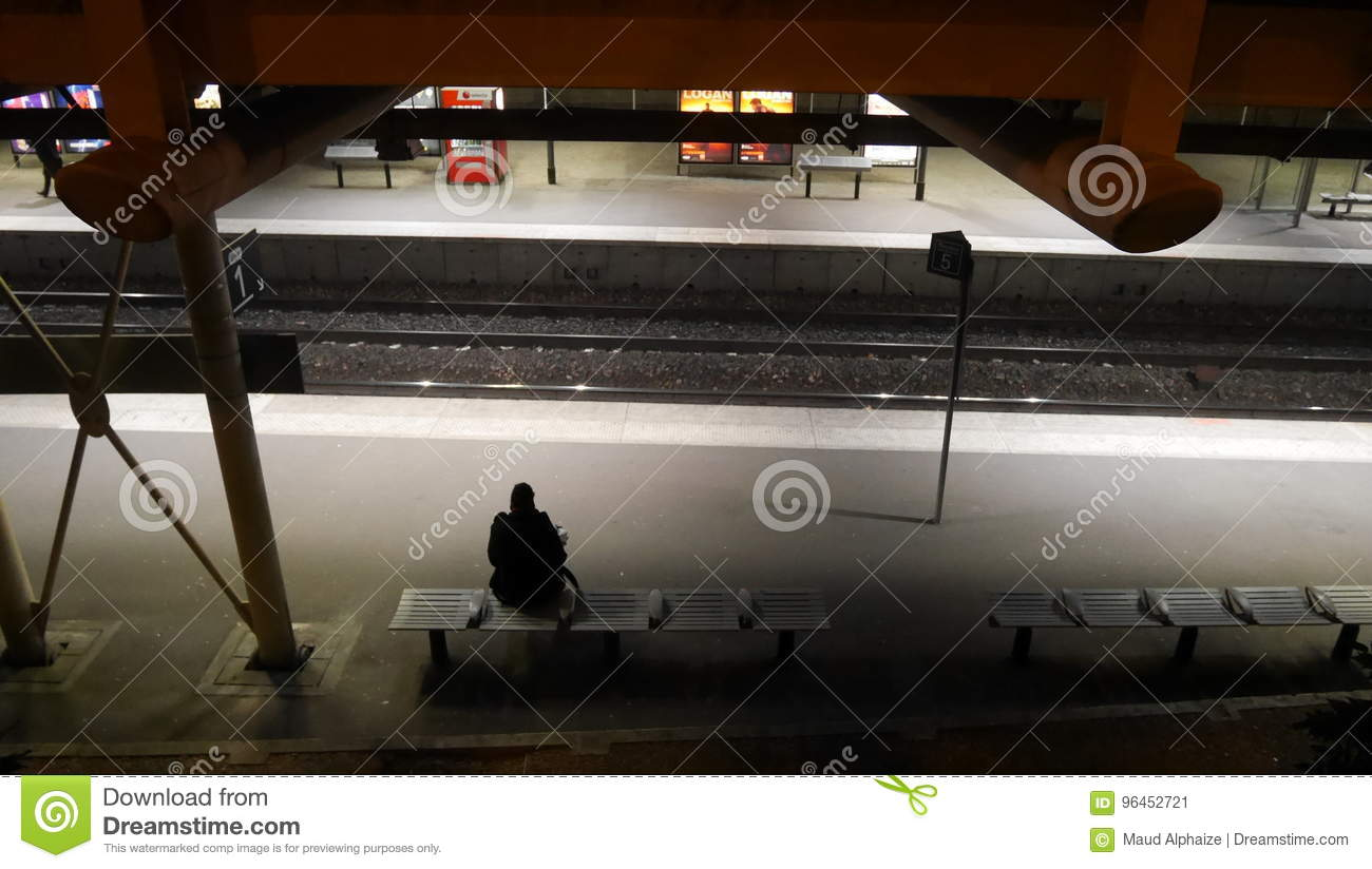 Woman waiting for metro