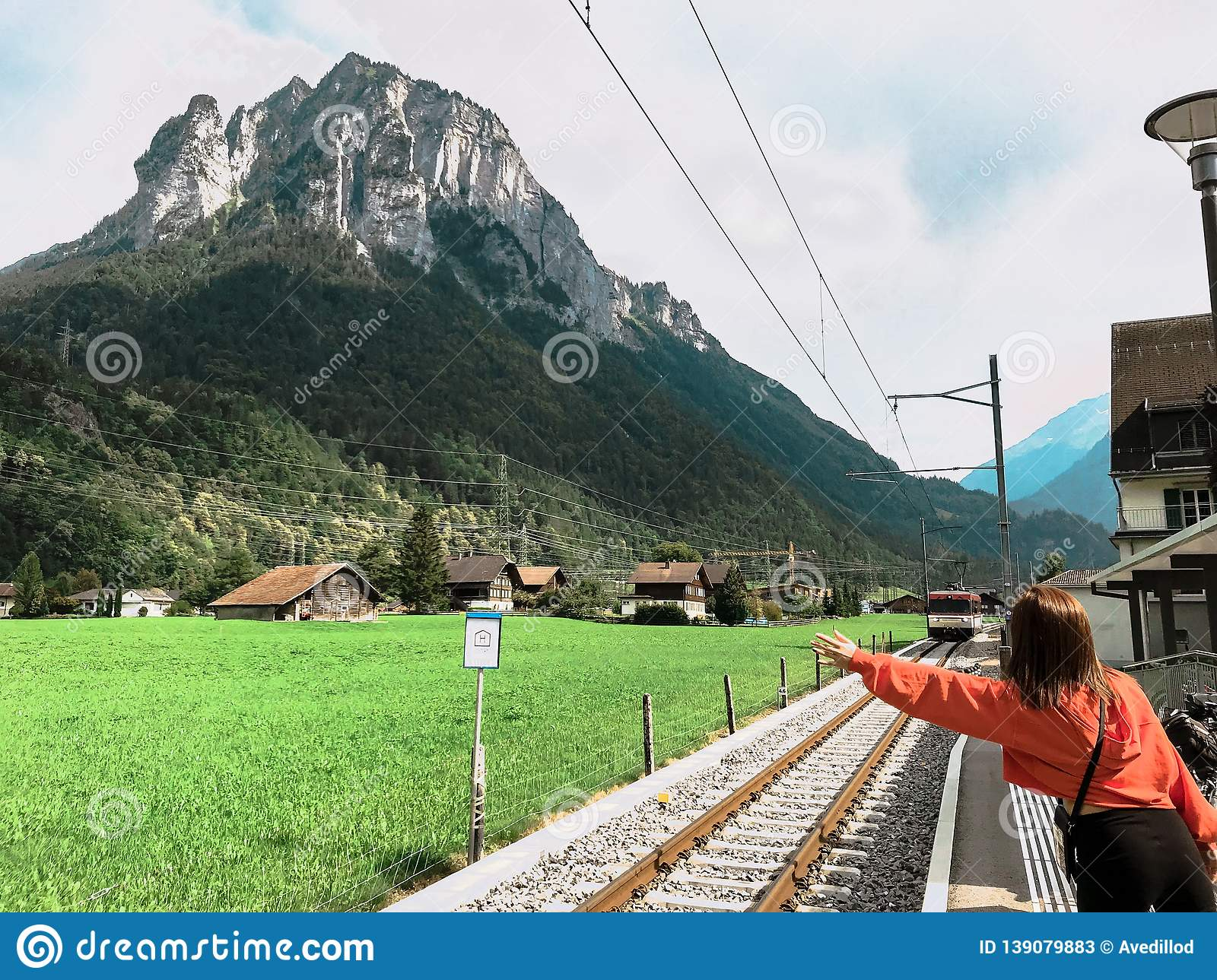 A woman waiting for the train