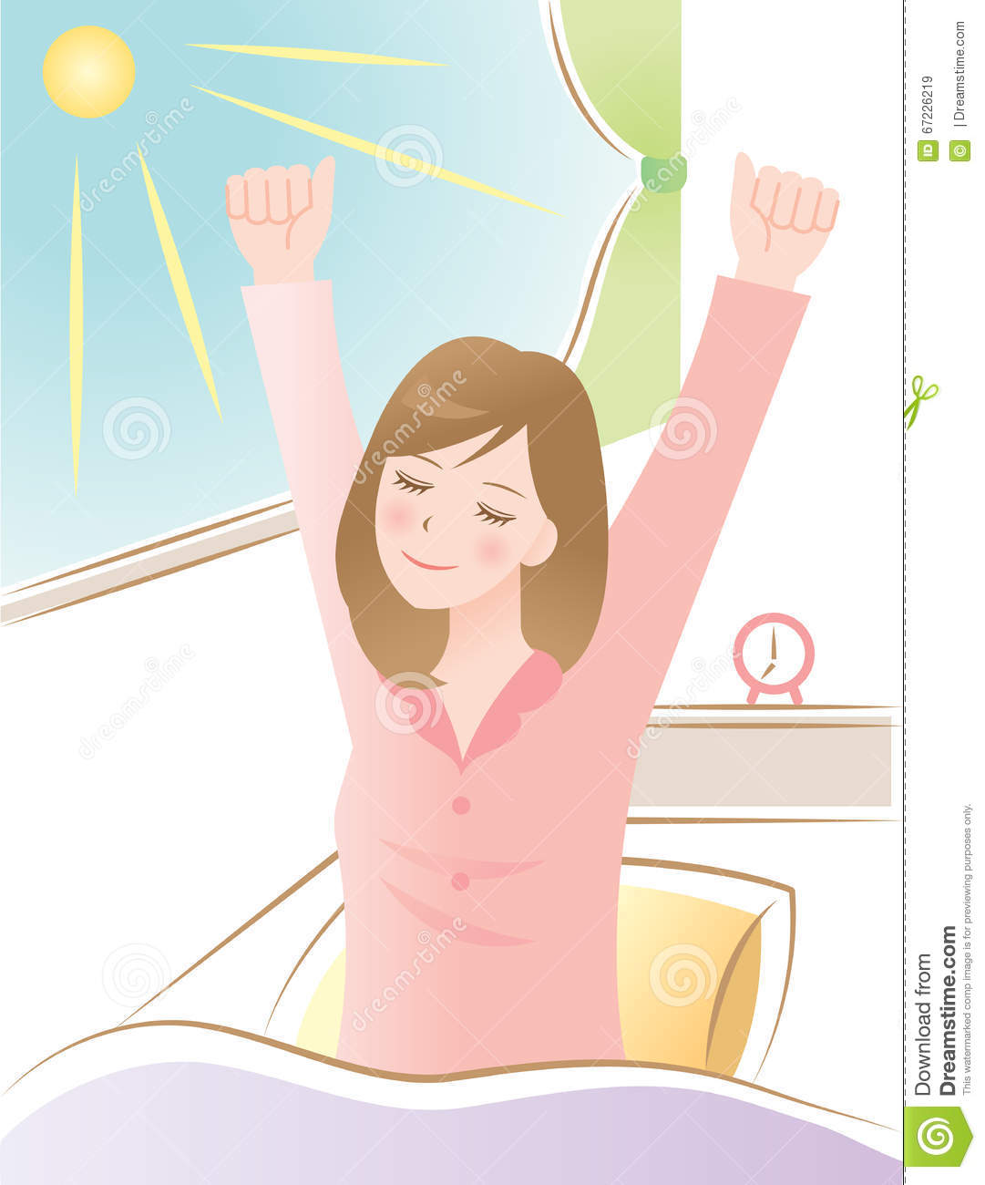 Wake Up Stretch Get On A Plane To Hawaii Mele: A Woman Wake Up In The Morning Stock Vector