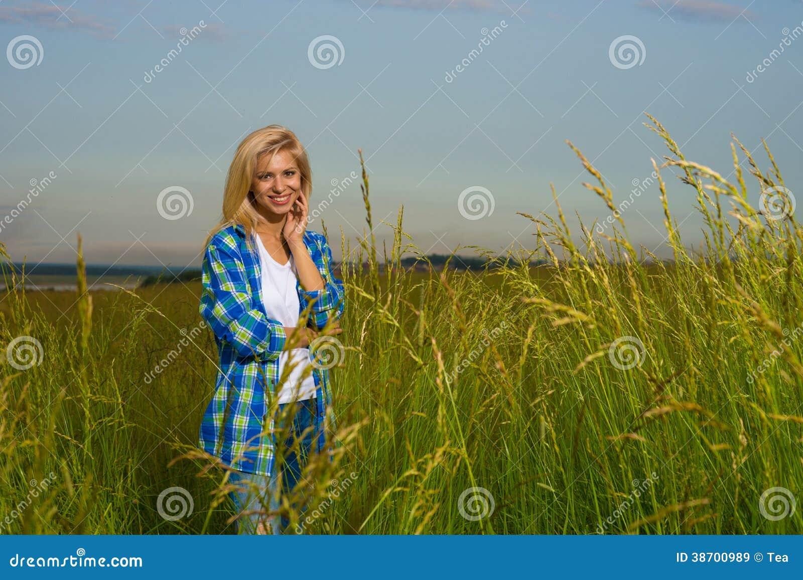 woman walking in grass - photo #21