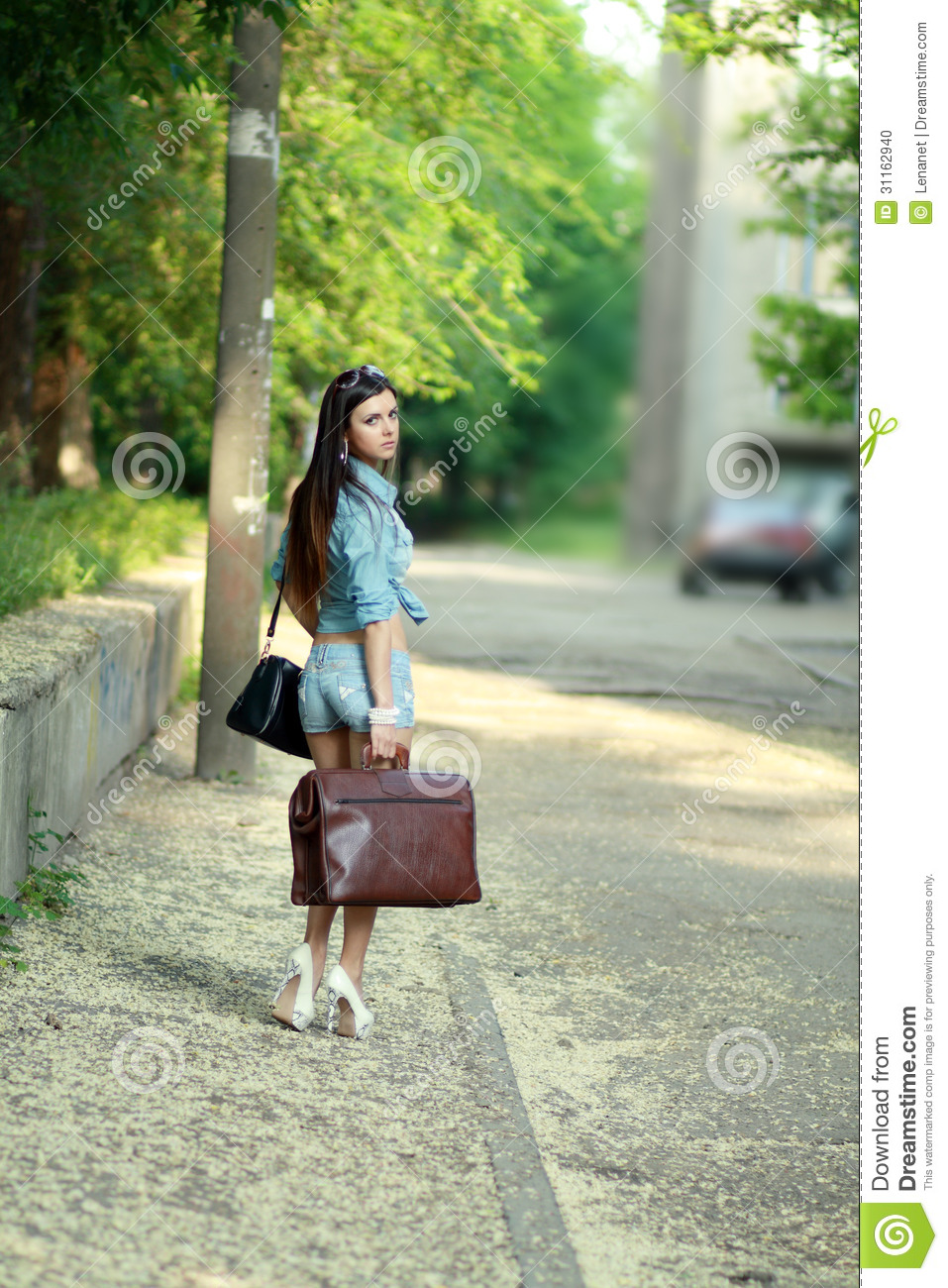 Woman walking away stock photo. Image of classic, clothes ...