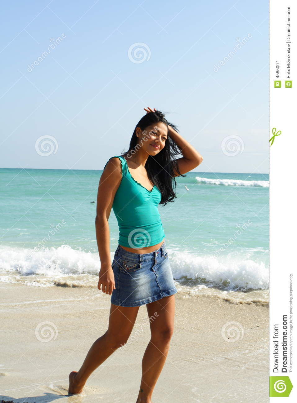 Woman Walking On The Beach Royalty Free Stock Photography ...