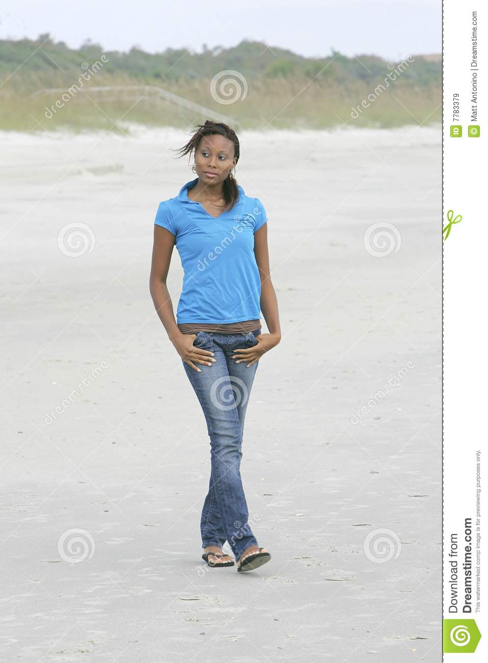 Woman Walking On The Beach Royalty Free Stock Images ...