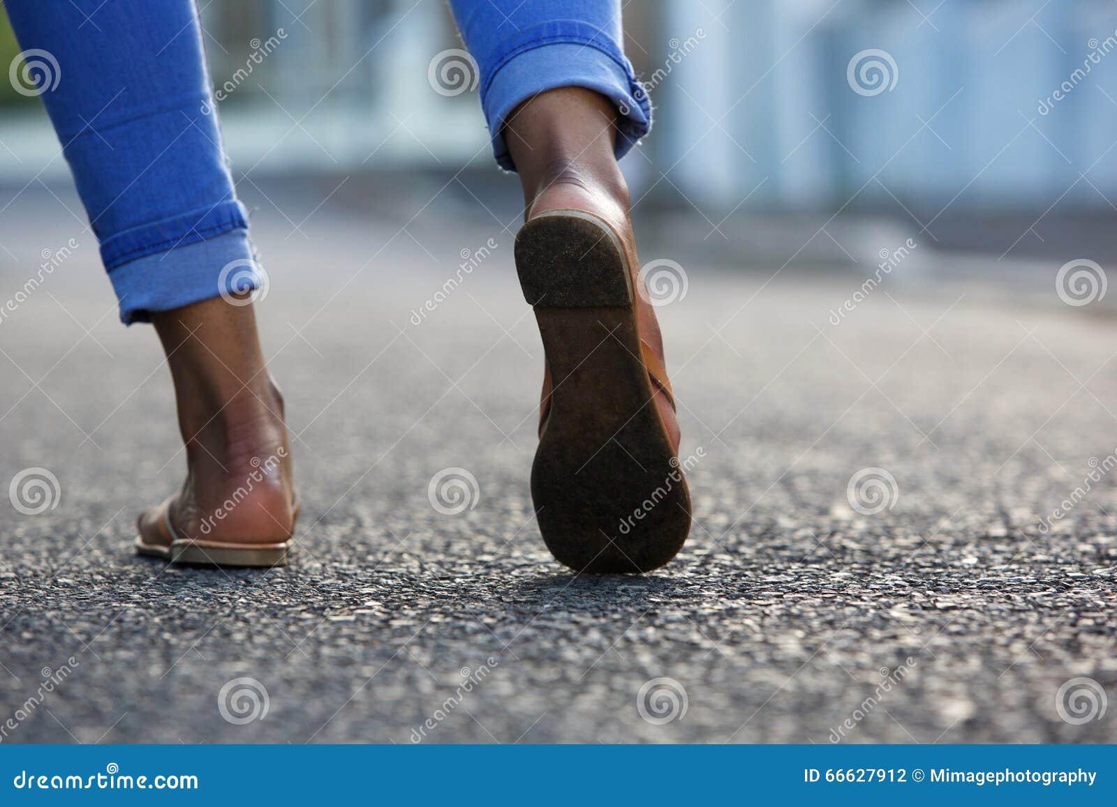 Woman Walking On City Street Stock Photo Image 66627912