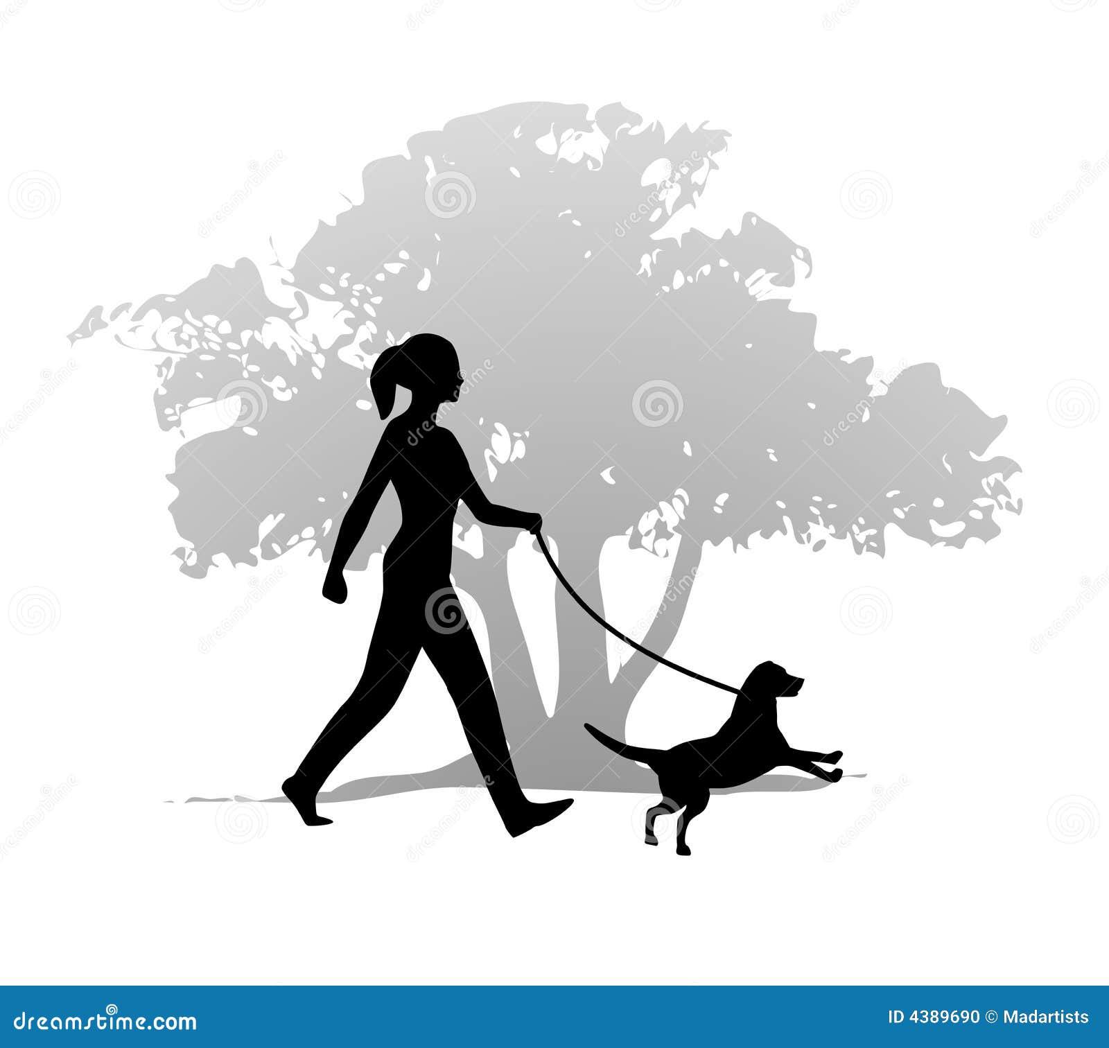 Silhouette Woman Walking Dogs