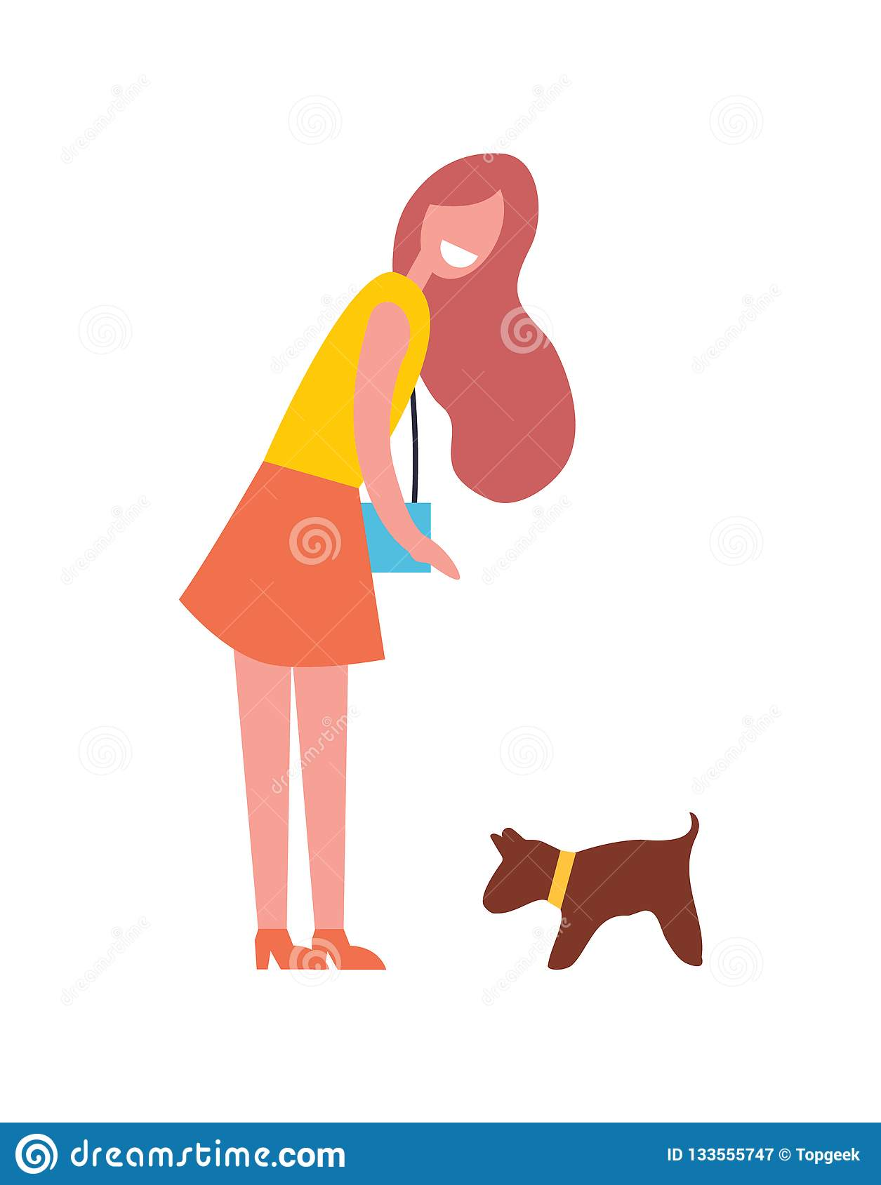 de85cfcdf33 Woman Walking With Dog Pet Vector Illustration Stock Vector ...