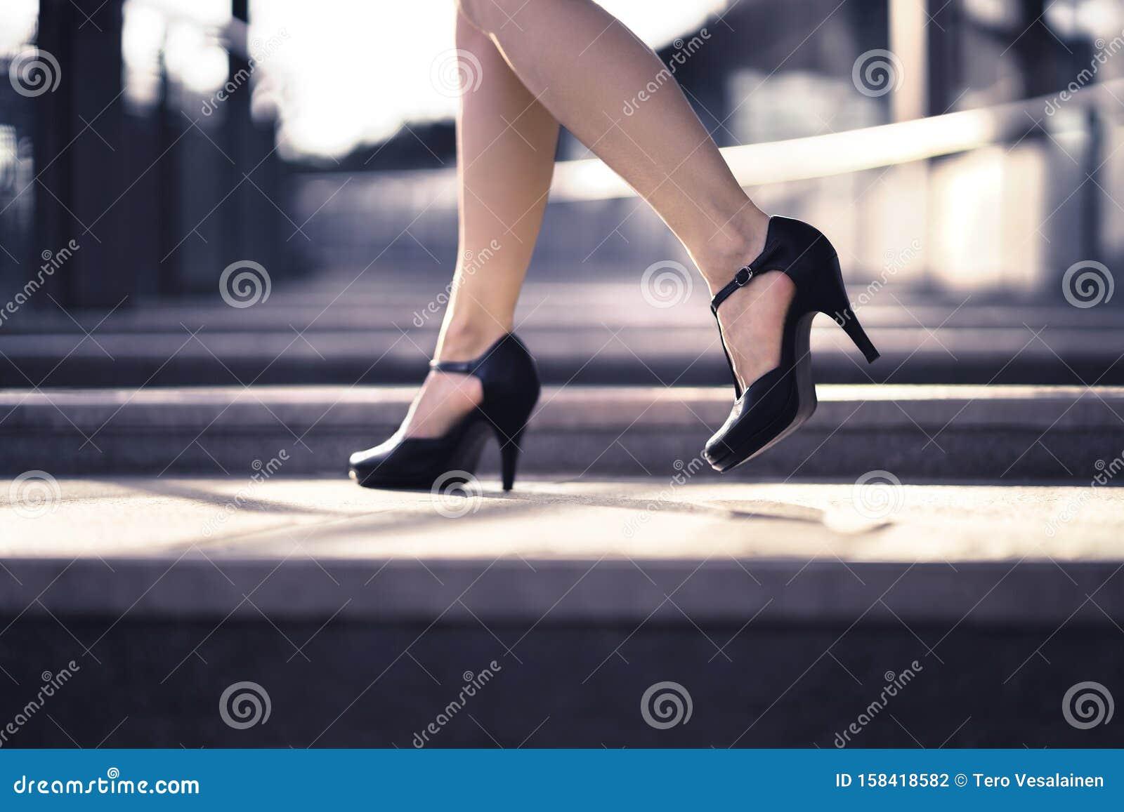 Woman Walking In High Heels In Urban City Street In Summer Chic Stylish Footwear Elegant Fashion Style Stock Photo Image Of Heels High 158418582