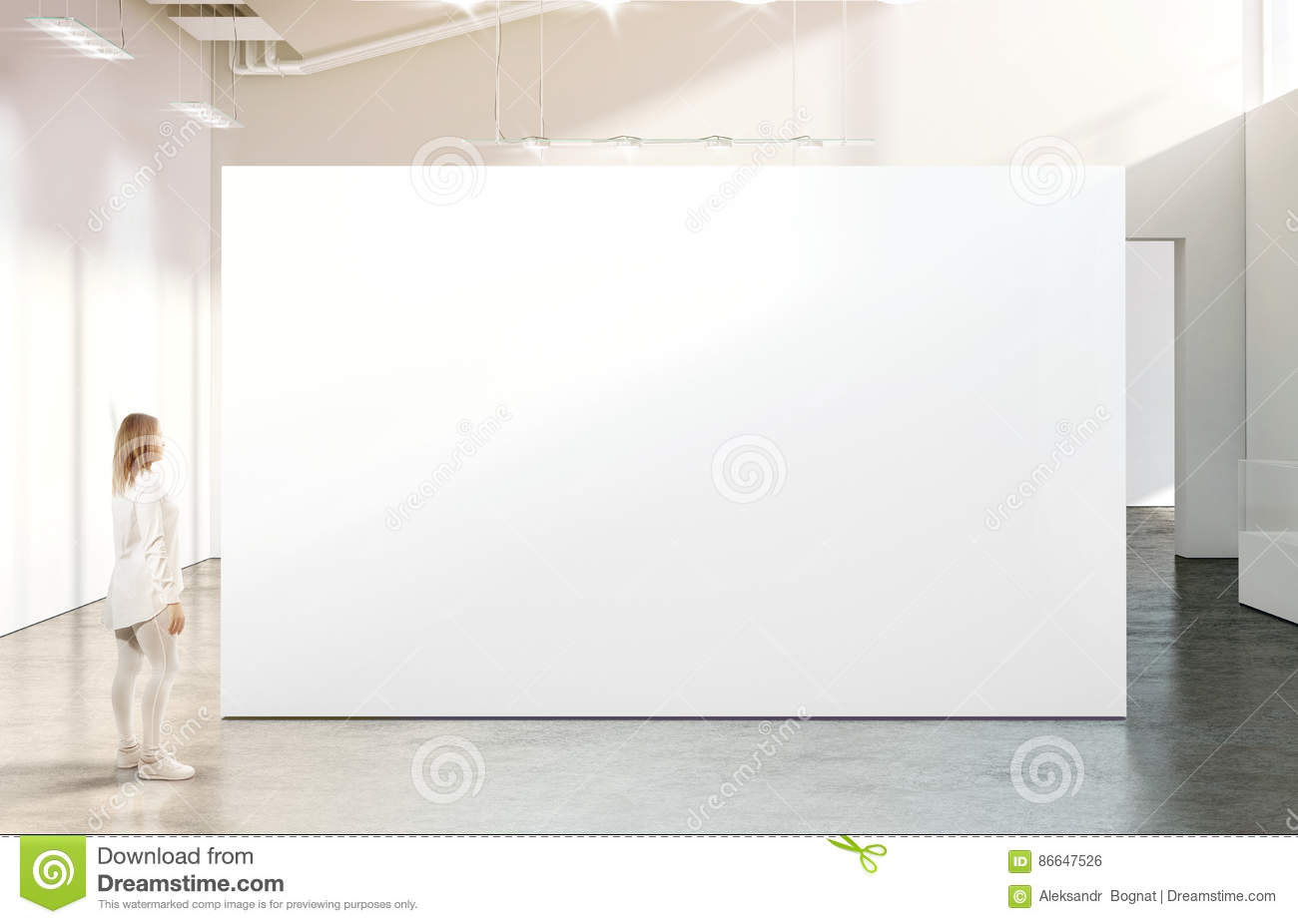 Modern Exhibition Stand Near Me : Woman walking near blank white wall mockup in modern