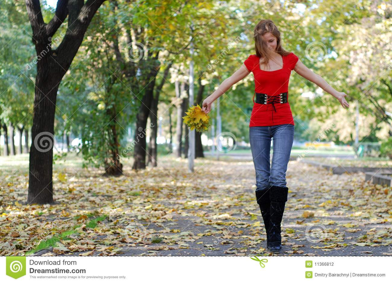 woman walking in park stock photography image 11366812