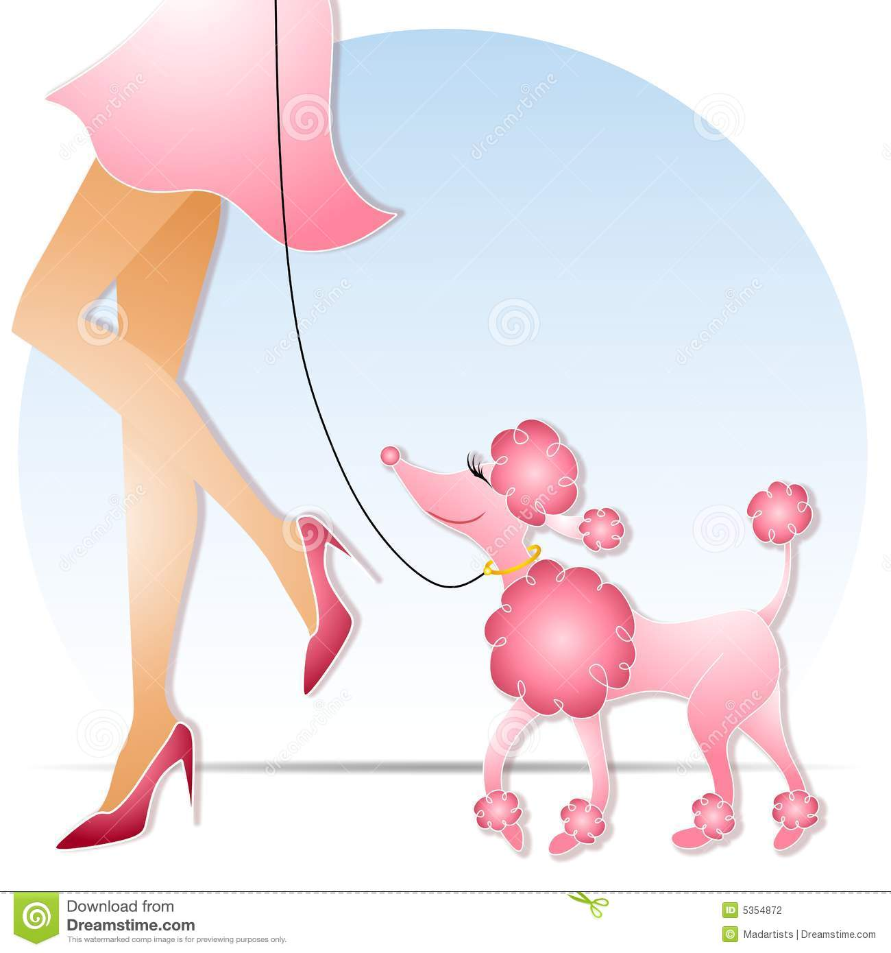 An illustration featuring a woman walking a pink poodle with fluffy ...