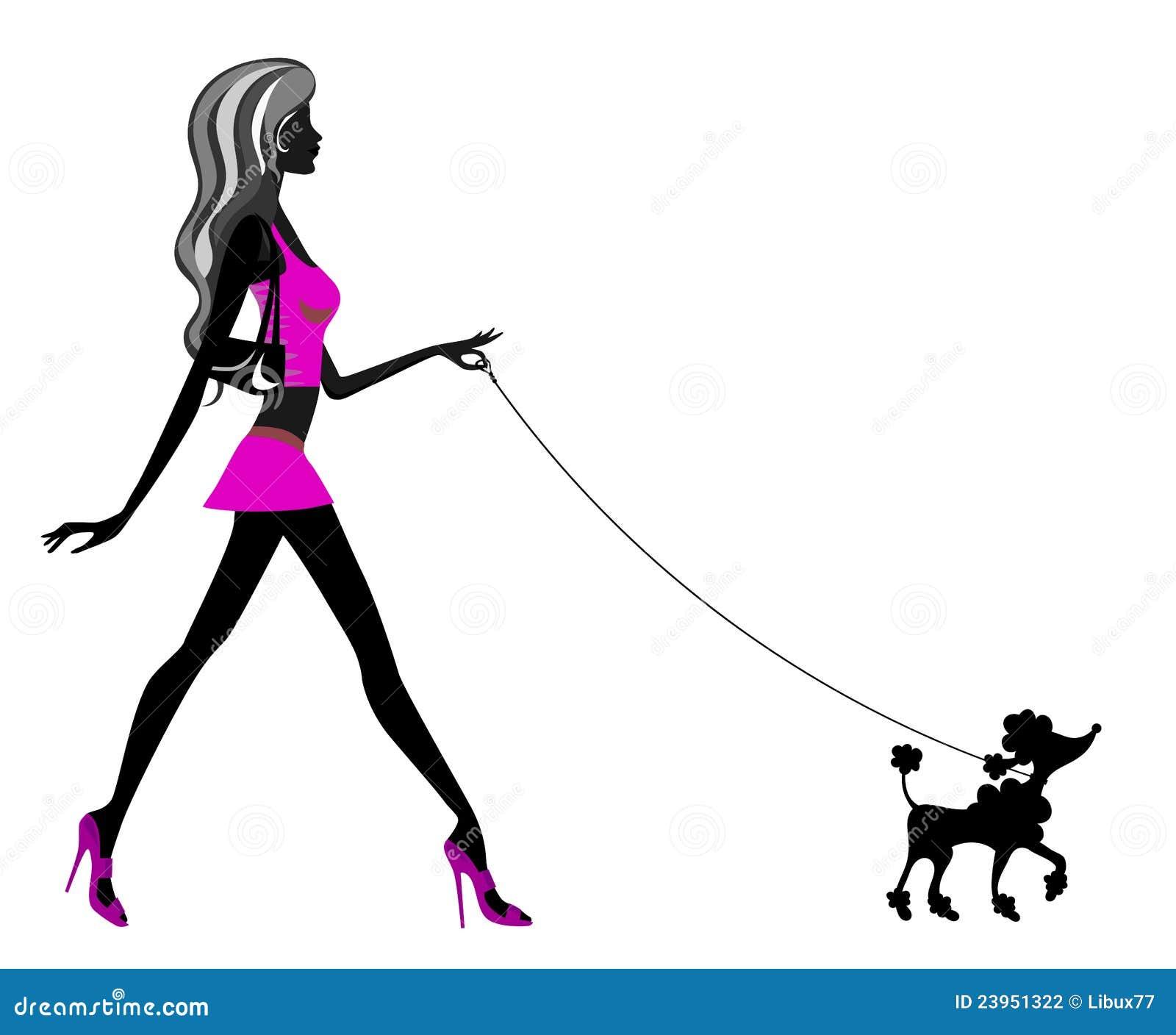 Woman Walking Poodle