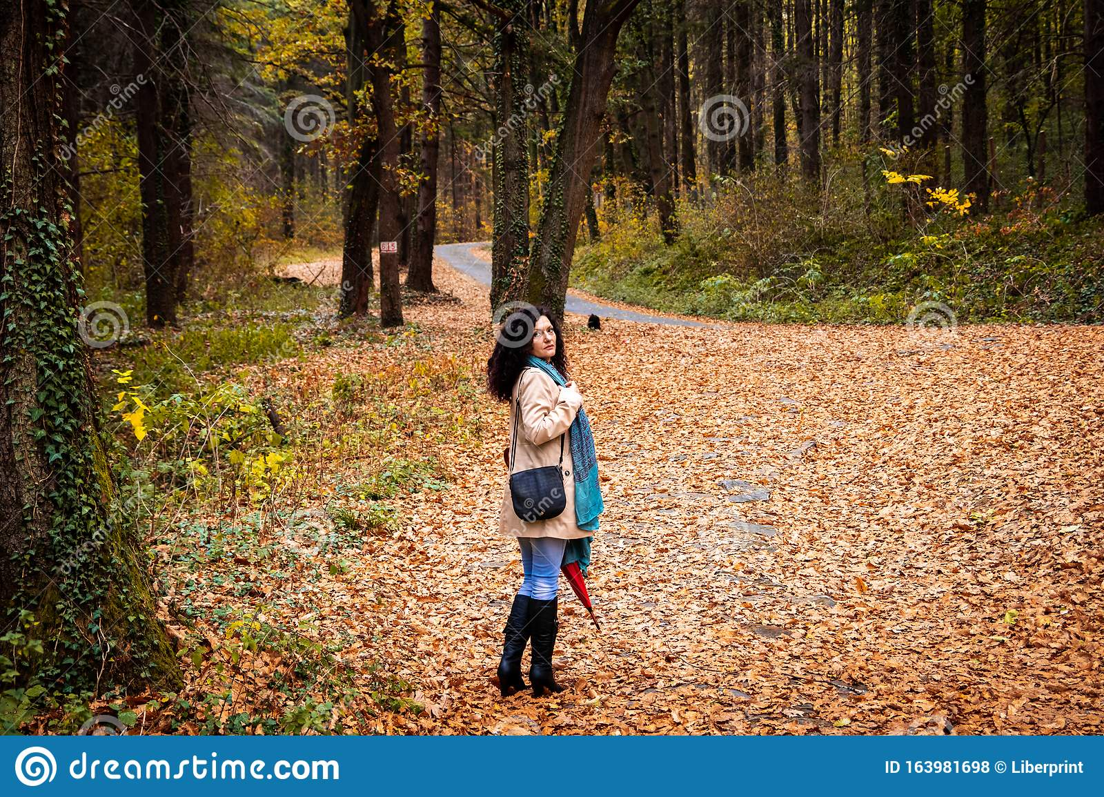 Young girl walking down the road with a    Stock image