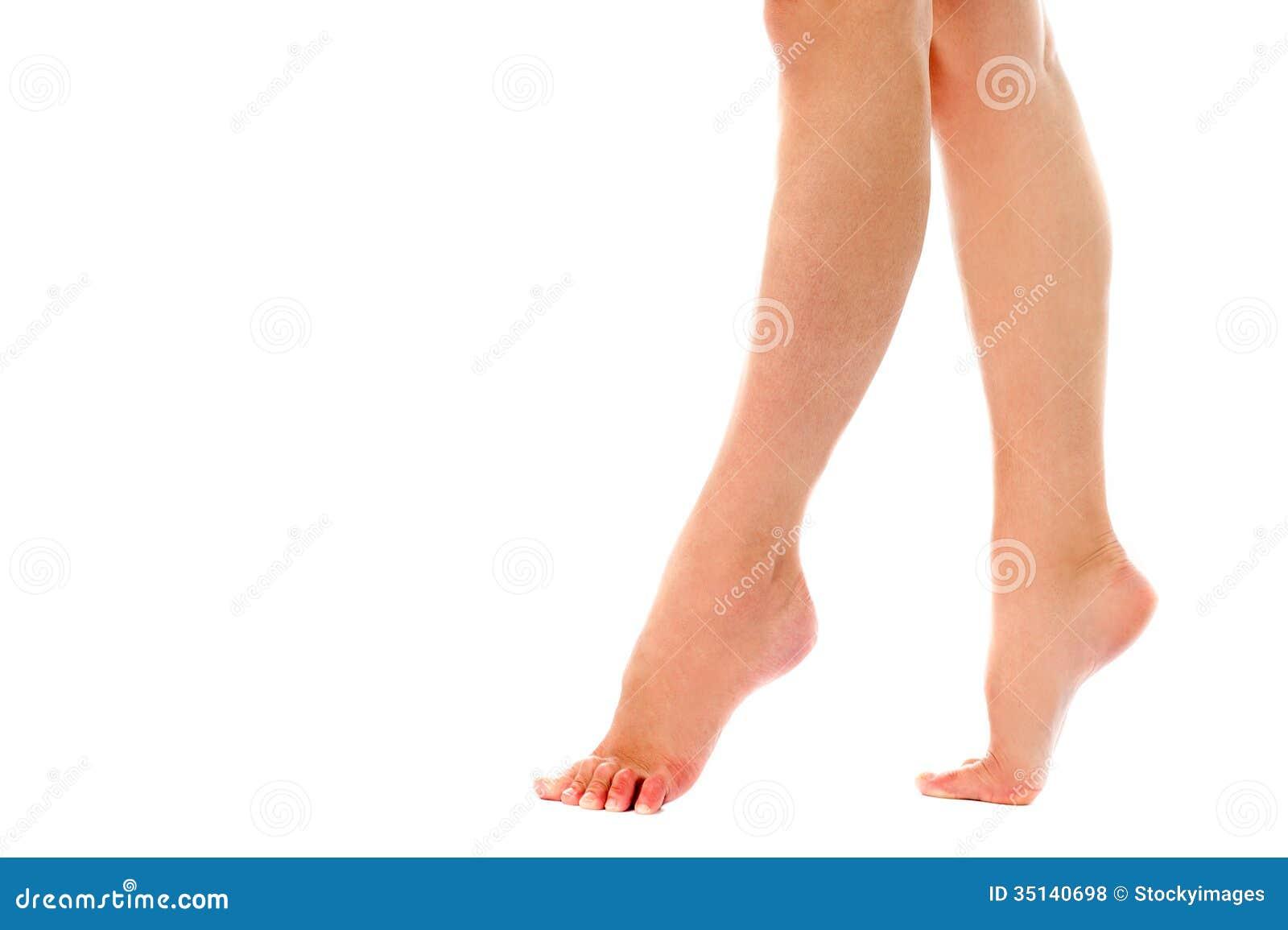 Woman Walking On Toes Closeup Shot Royalty Free Stock