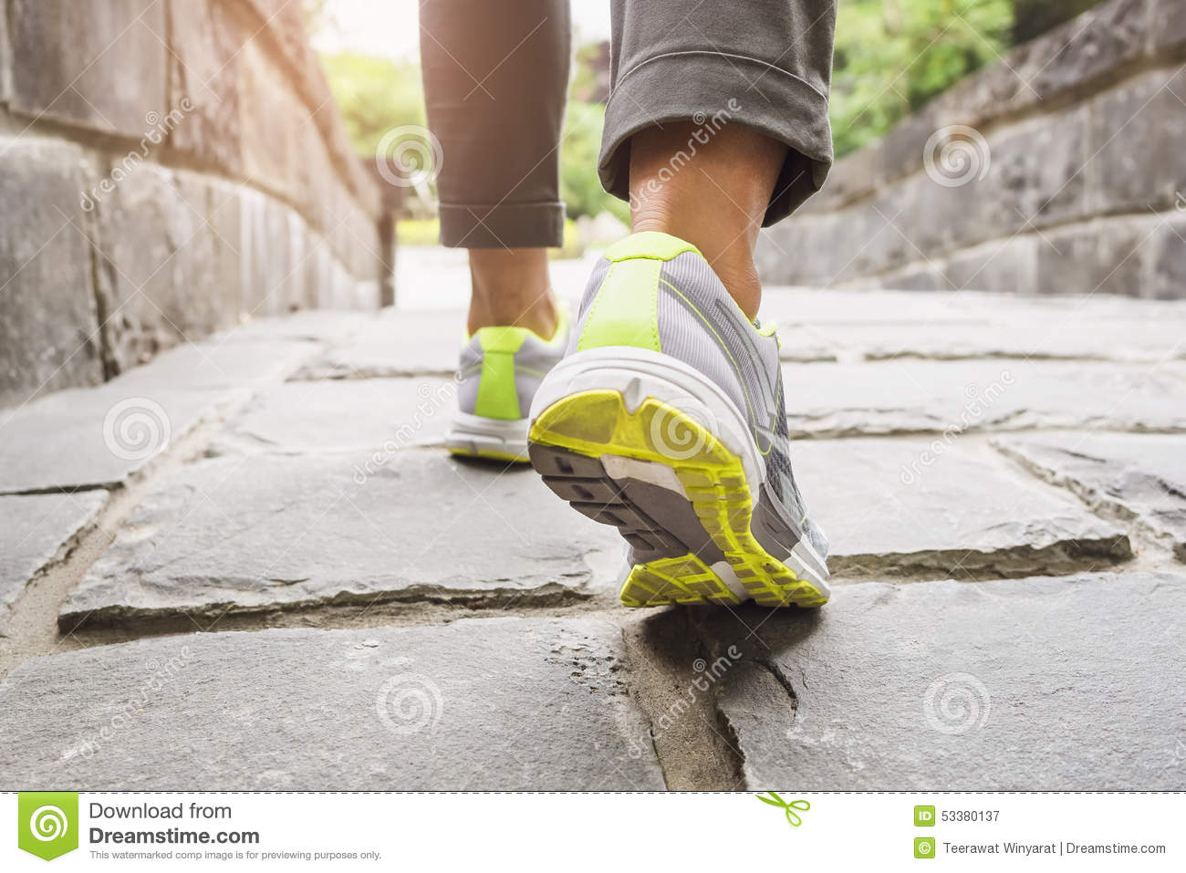 Woman Walking on trail outdoor exercise