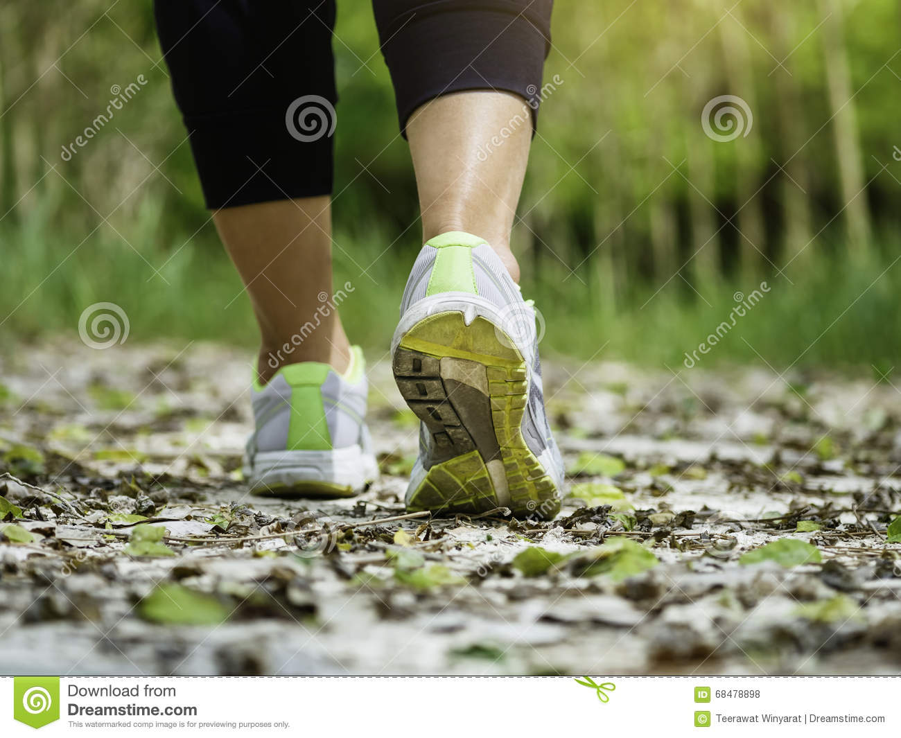 Woman Walking On Trail Outdoor Jogging Exercise Stock