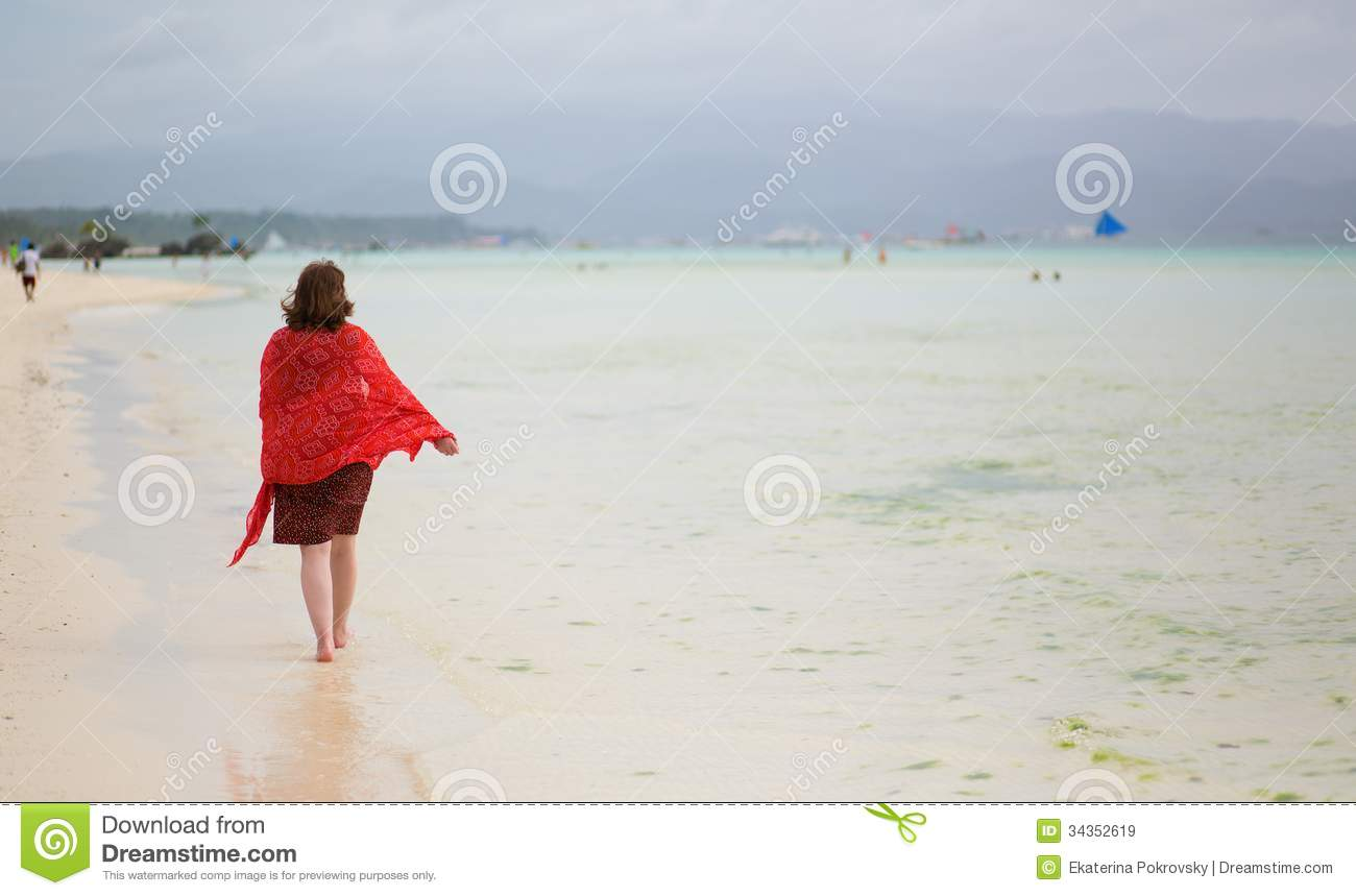 Woman walking on a beach royalty - Beach Boracay Philippines Sand White Woman