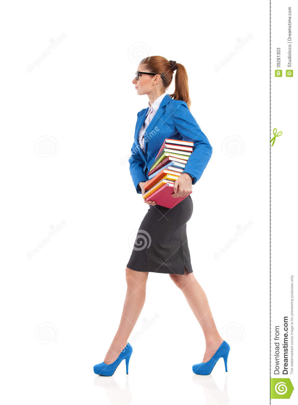 Woman Walks With Stack Of Books Stock Photo - Image 39281303-6304