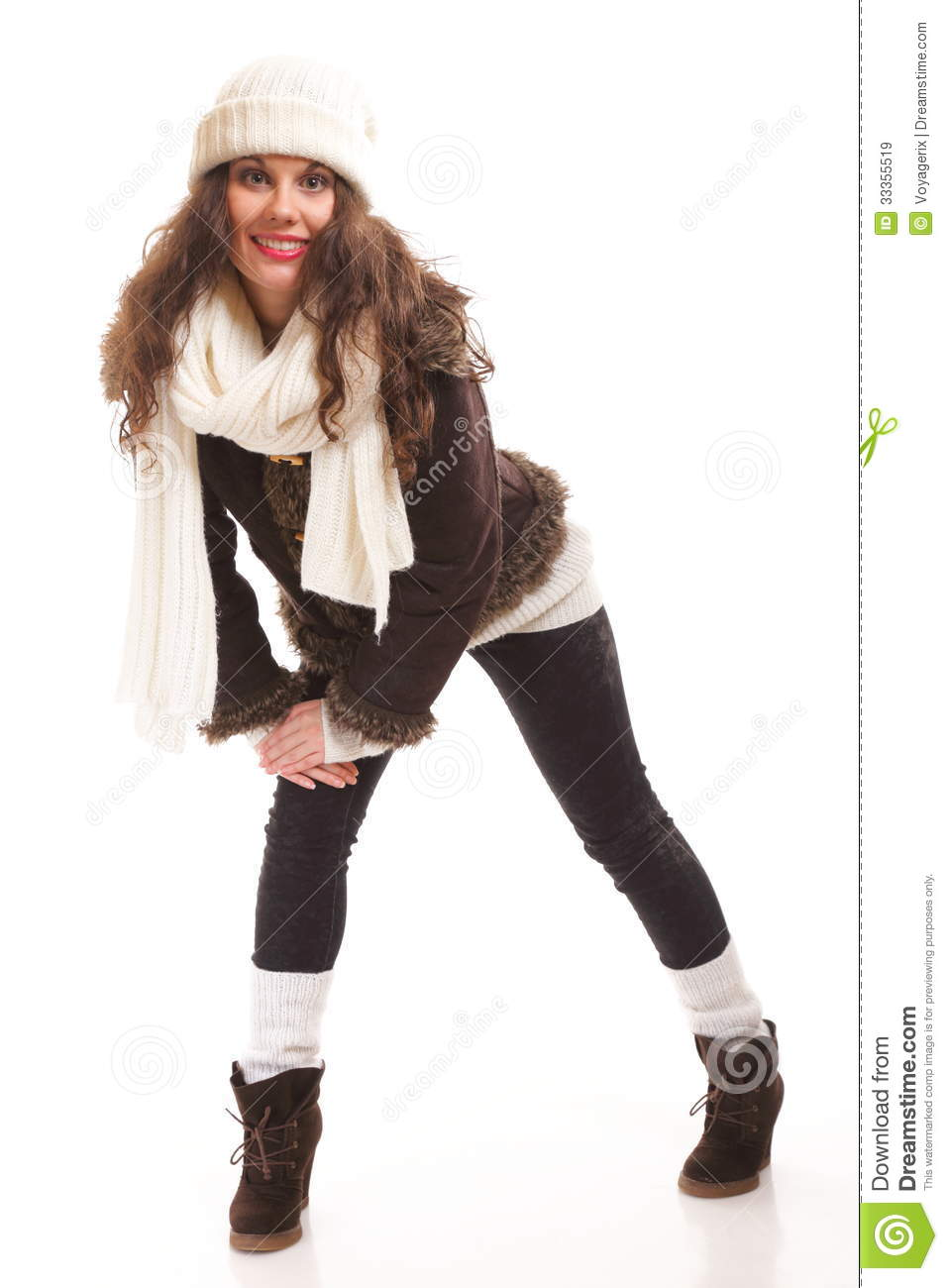 Woman In Warm Clothing Winter Fashion Stock Image Image 33355519