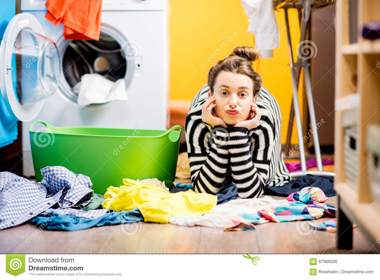 Woman Washing Clothes At Home Stock Photo - Image of
