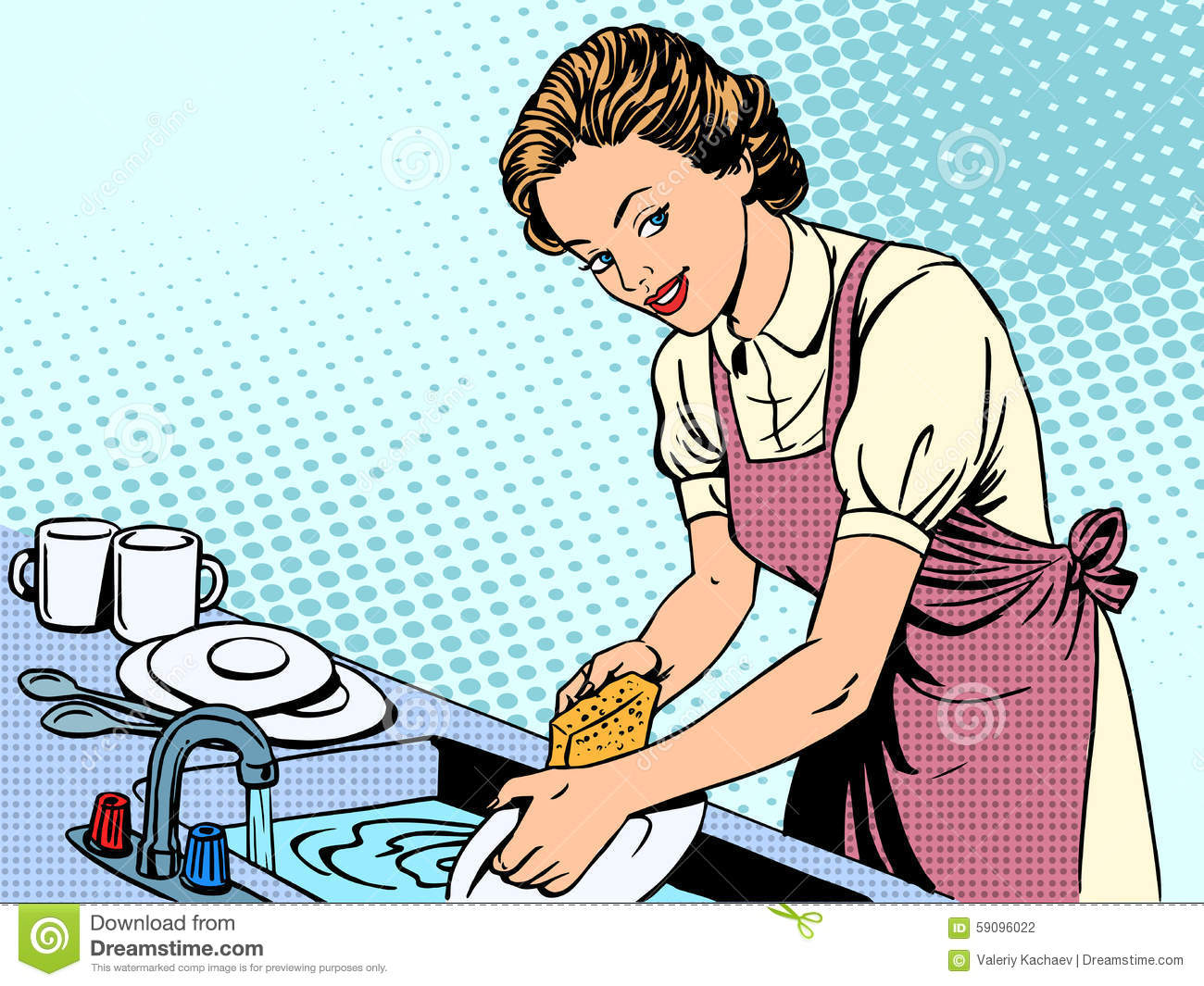 Woman Washing Dishes Housewife Housework Comfort Stock ...
