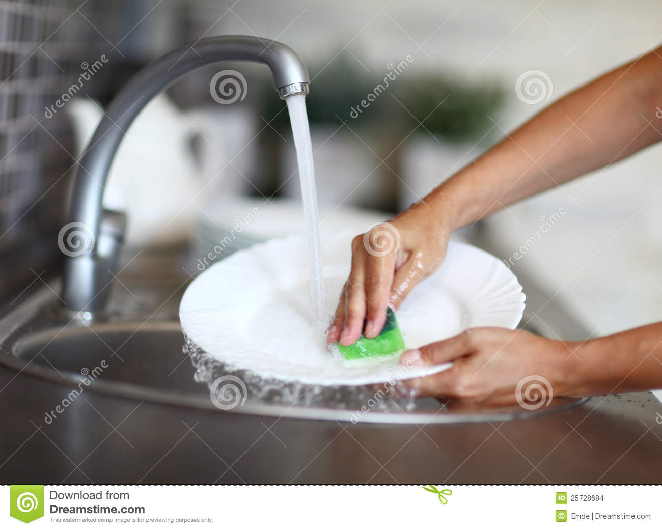 Woman Washing Dishes In The Kitchen Sink Stock Images - Image ...