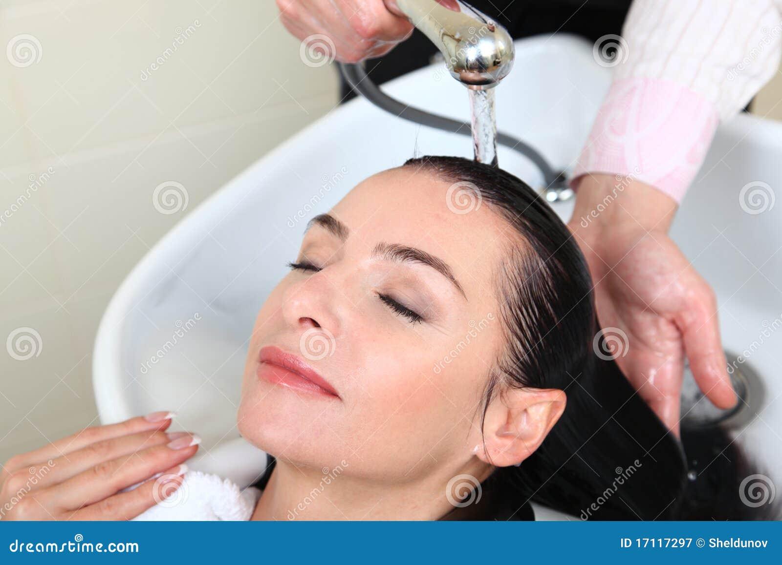 Woman washing hair in salon pool stock image image 17117297 for Wash hair salon