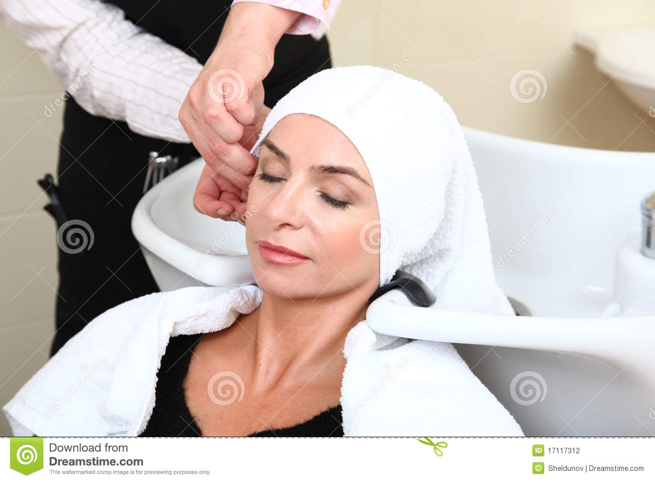 Woman Washing Hair In Salon Pool Stock Photography - Image: 17117312
