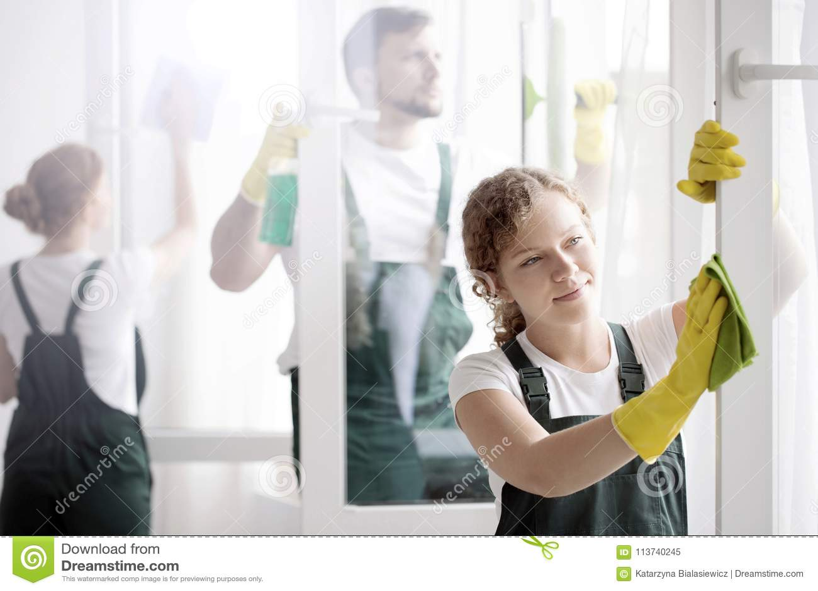 Woman Washing Window`s Frame Stock Image - Image of apartment, group ...