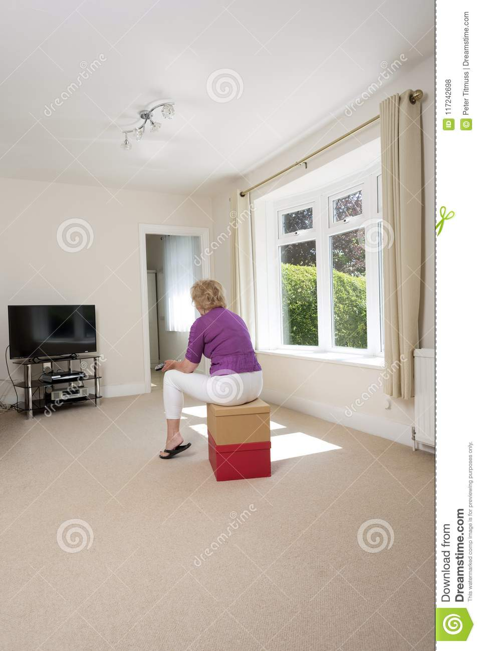 Woman Watching Tv In An Empty Room Stock Photo Image Of White Watching 117242698