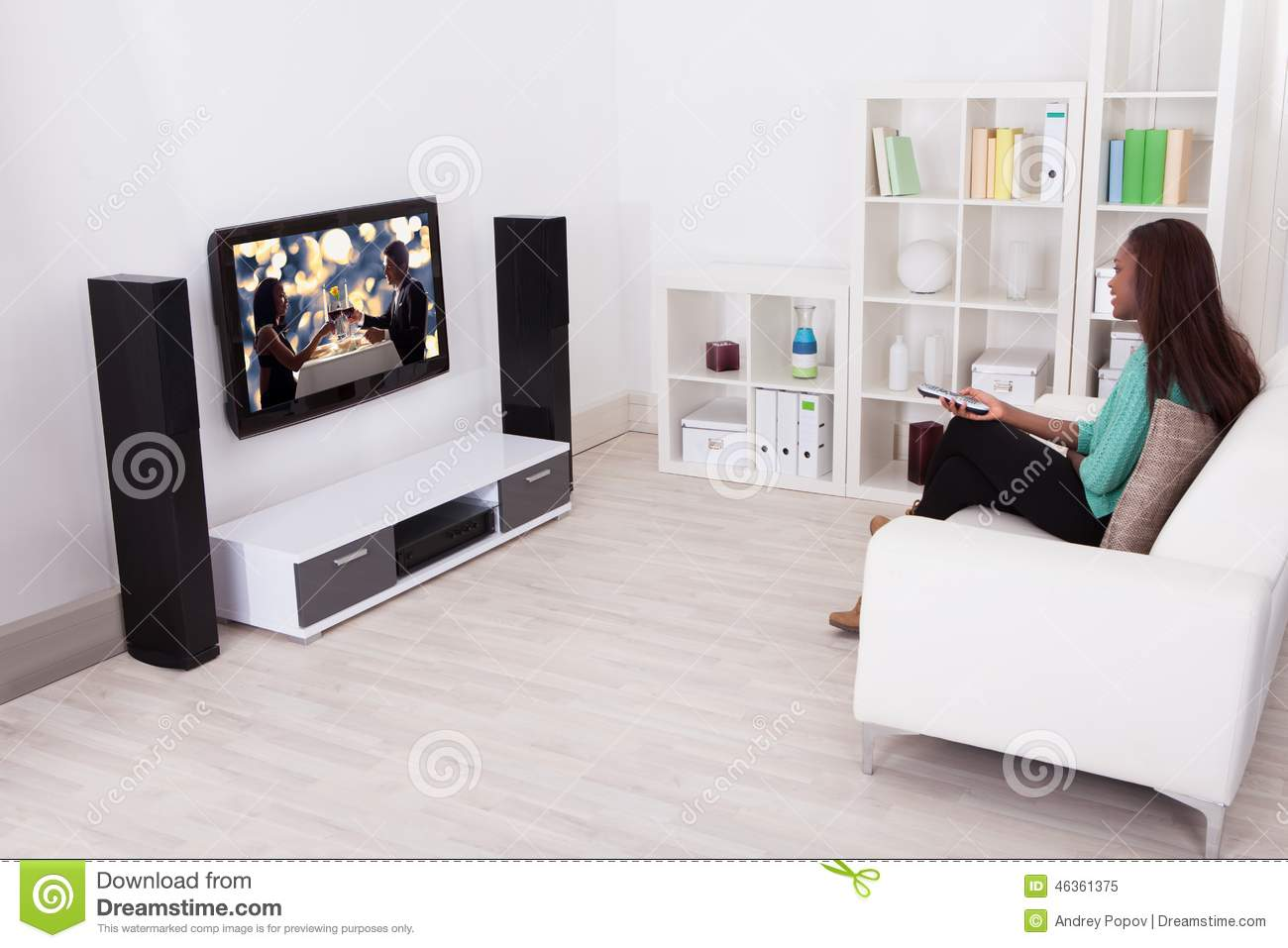 Woman Watching Tv In Living Room Stock Image - Image of indoors ...