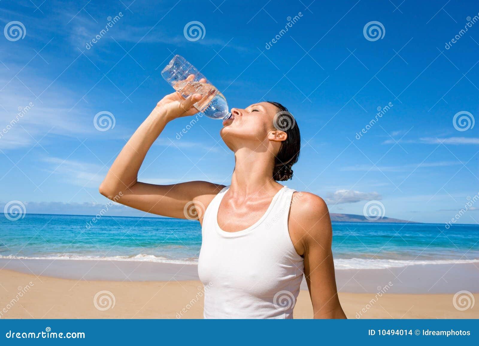 woman water sport bottle