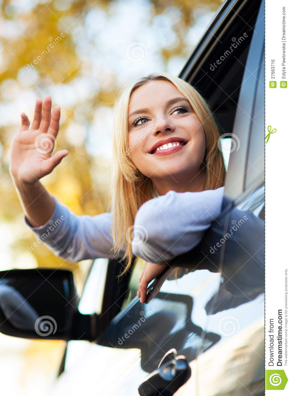Car Buying App >> Woman Waving From Car Window Royalty Free Stock Image - Image: 27663716