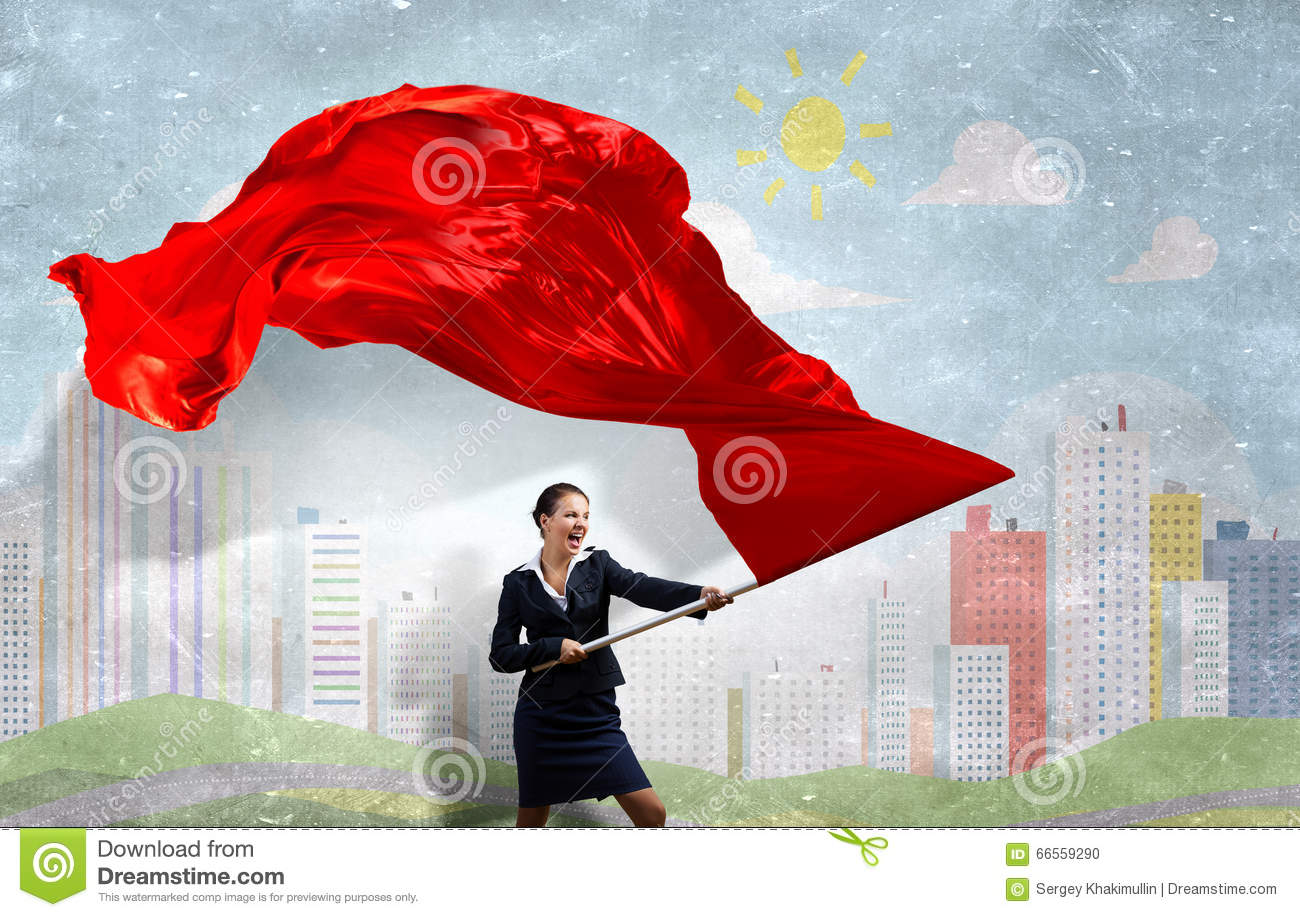 Woman waving red flag
