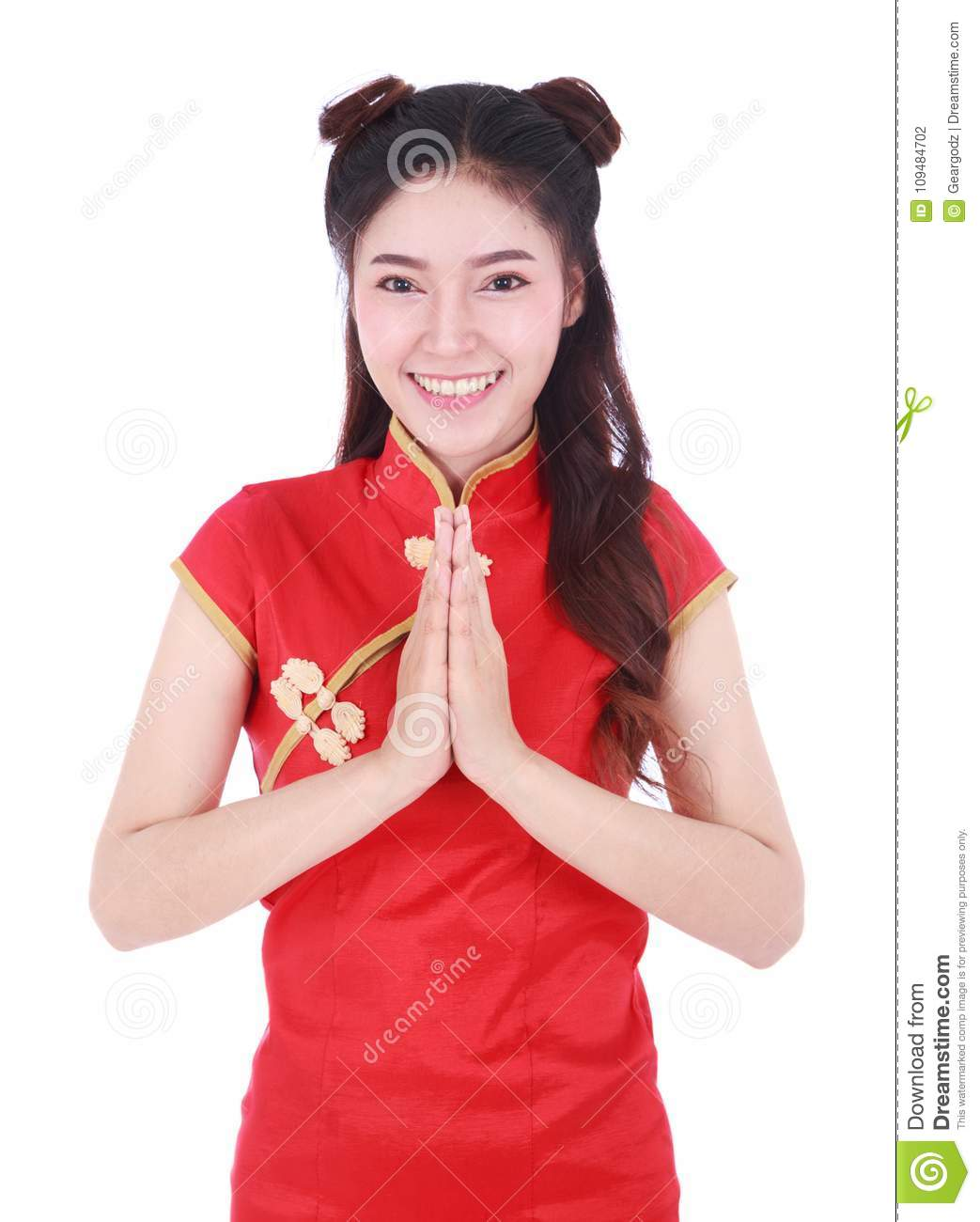 Woman wear red cheongsam and pay respect in concept of happy chi