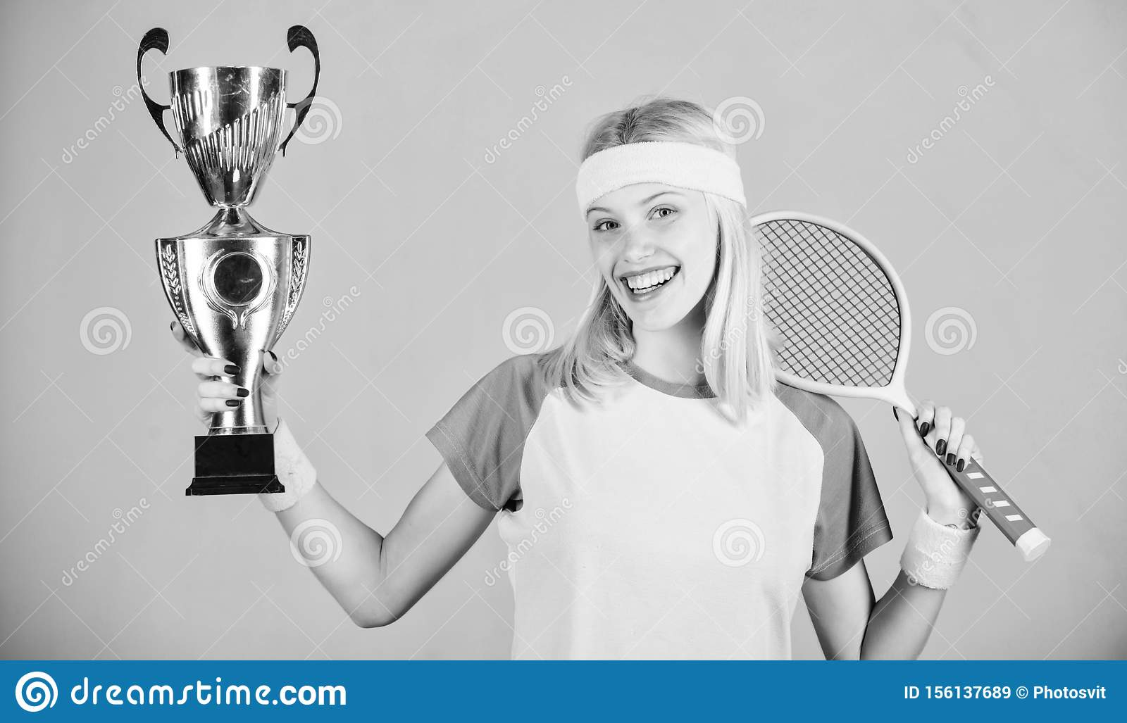 Woman wear sport outfit. Tennis player win championship. First place. Sport achievement. Celebrate victory. Tennis