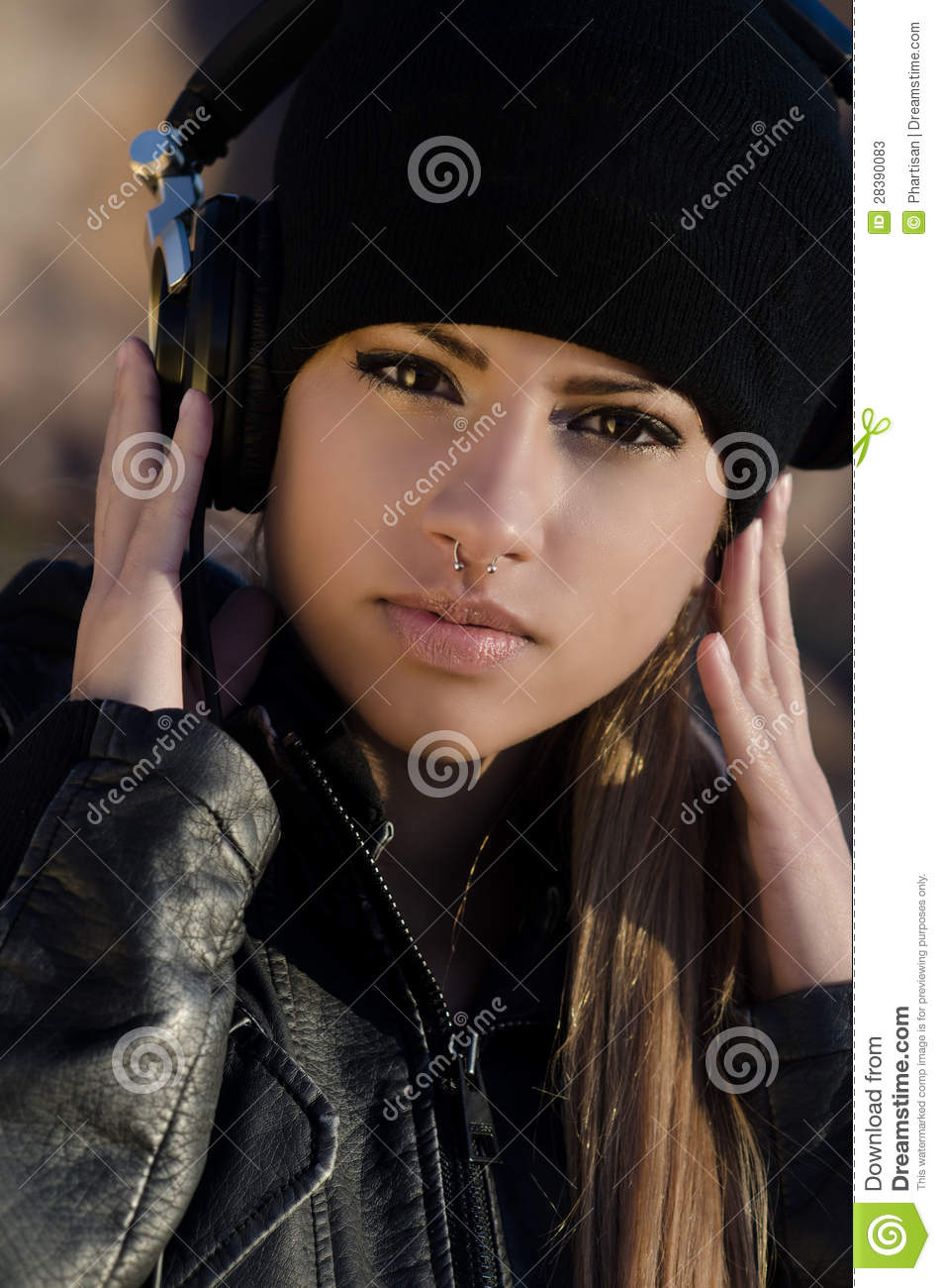 Woman Wearing Beanie Hat With Headphones Stock Photos ...