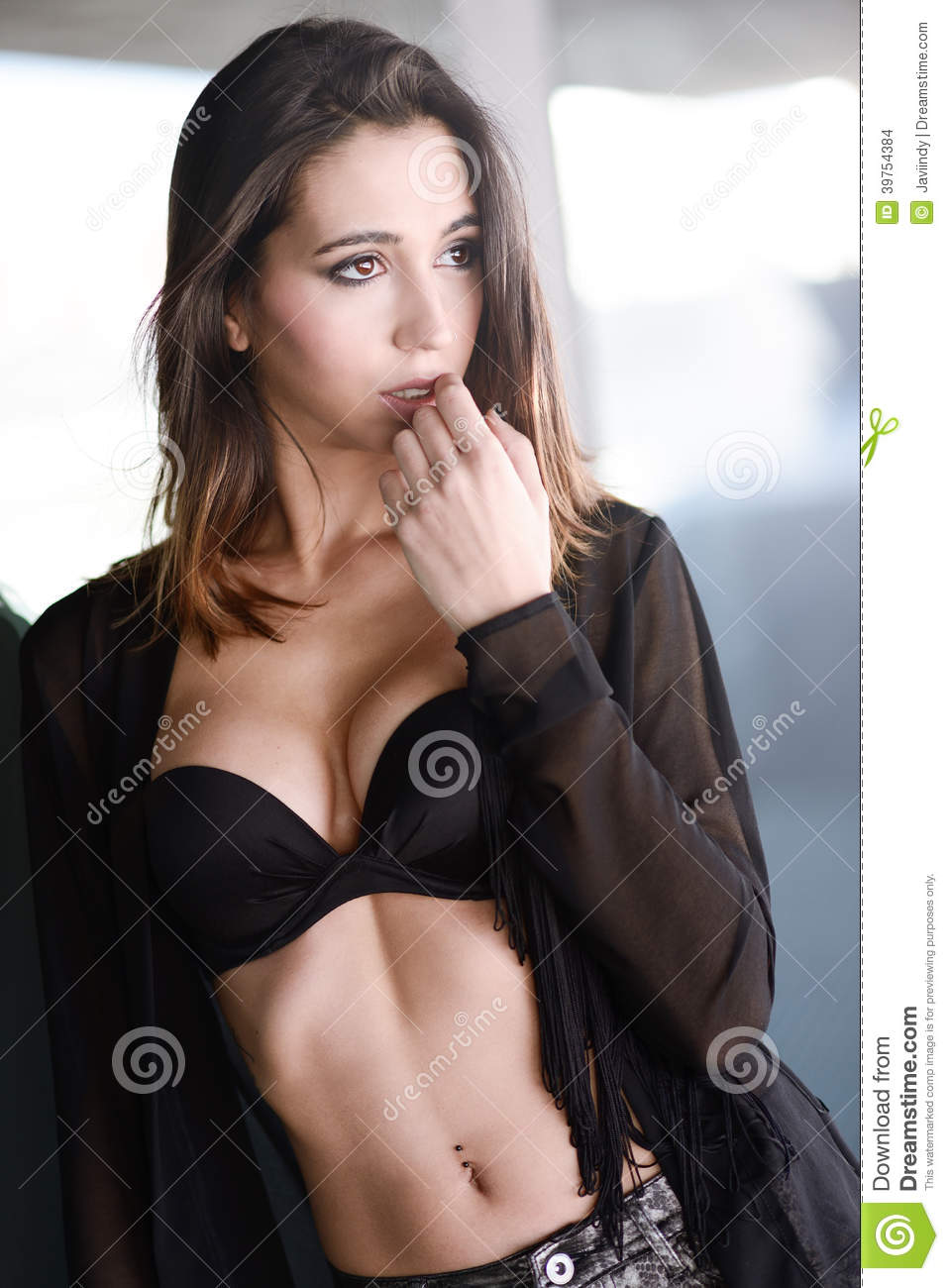 c77abcd29f076 Woman Wearing Black Bra And Jeans Stock Photo - Image of attractive ...
